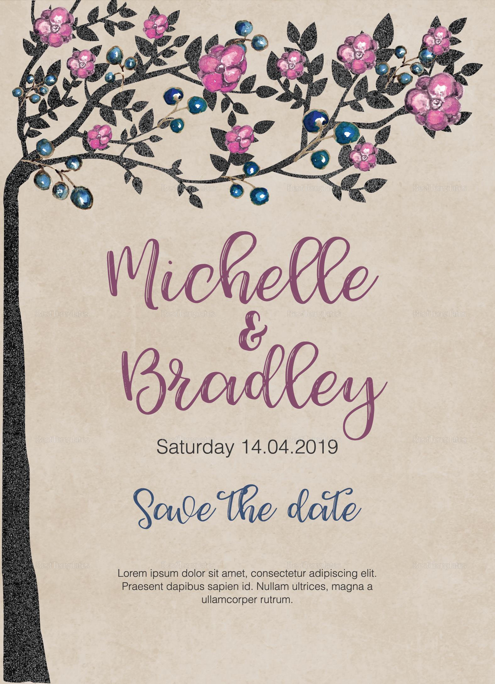 Tree Wedding Invitation Template