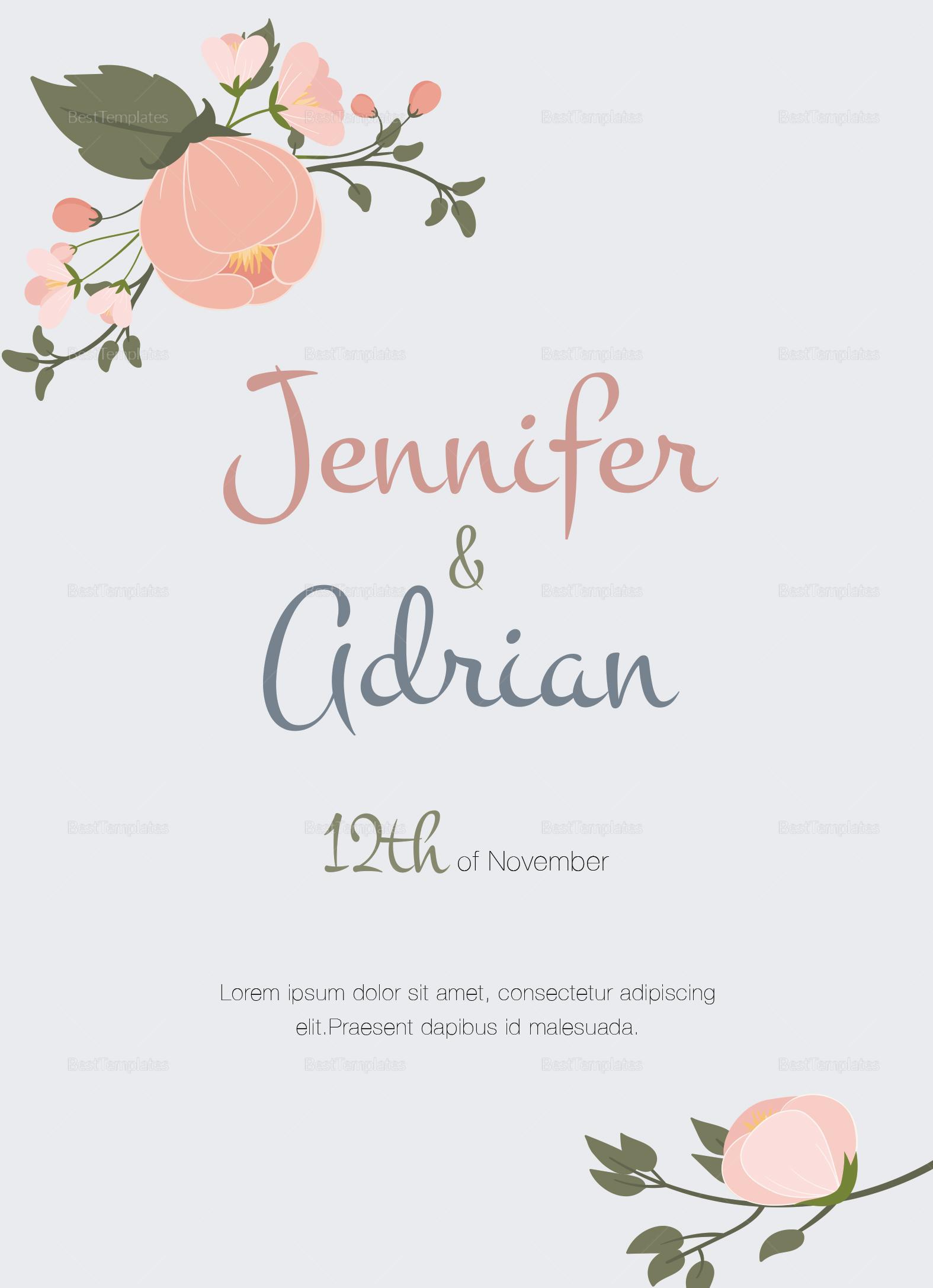 Apple Blossom Wedding Invitation Template