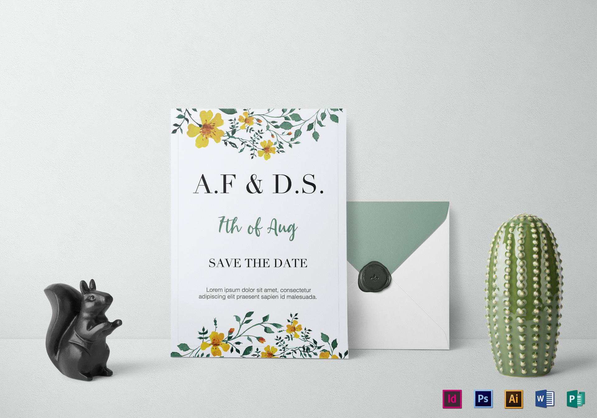 Microsoft Publisher Wedding Invitation Templates: Wild Flowers Wedding Invitation Design Template In PSD