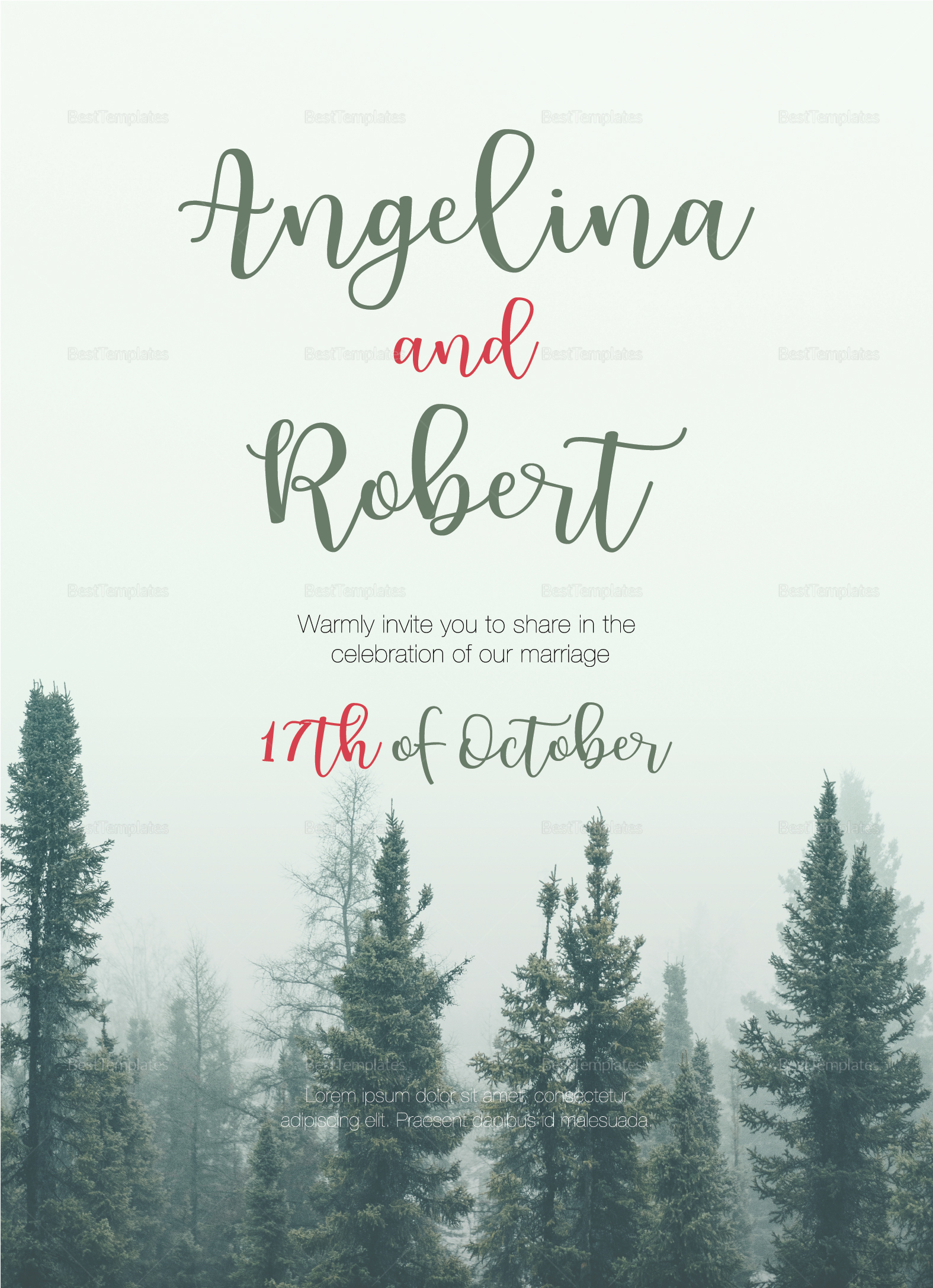 Beautiful Pine Tree Wedding Invitation Design Template in PSD, Word ...