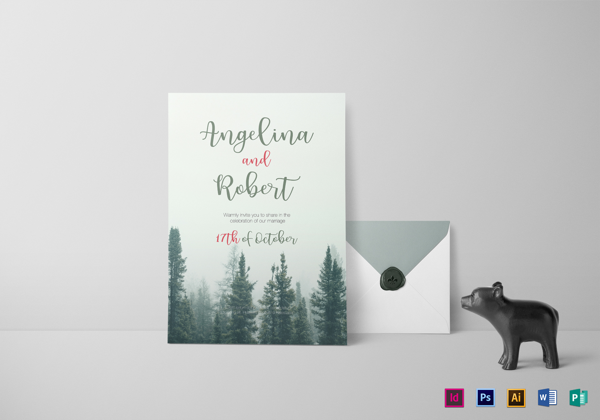 Beautiful Pine Tree Wedding Invitation