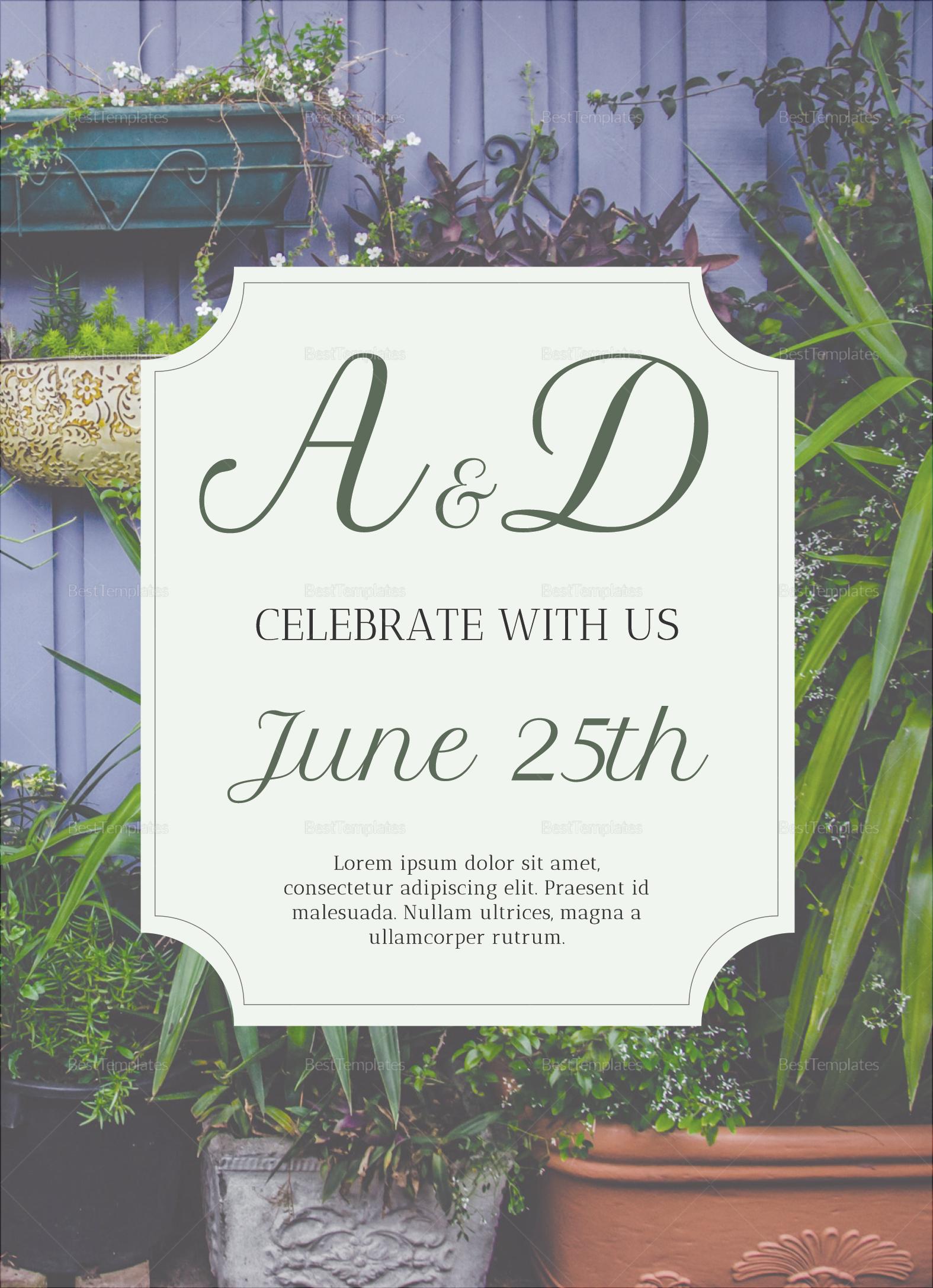 Greenery Botanical Wedding Invitation Template