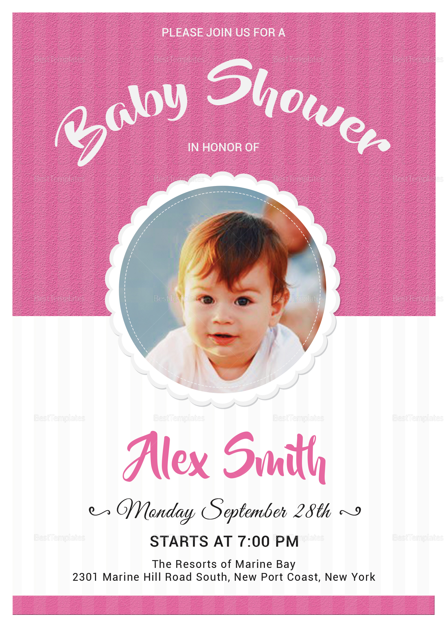 Stylish Baby Shower Invitation Design Template