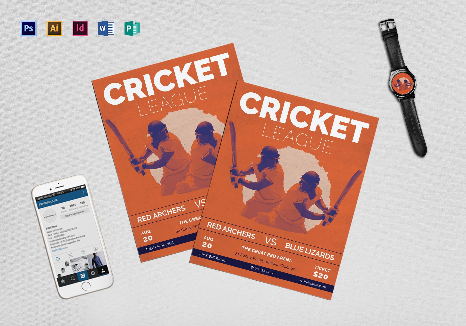Cricket Flyer Template