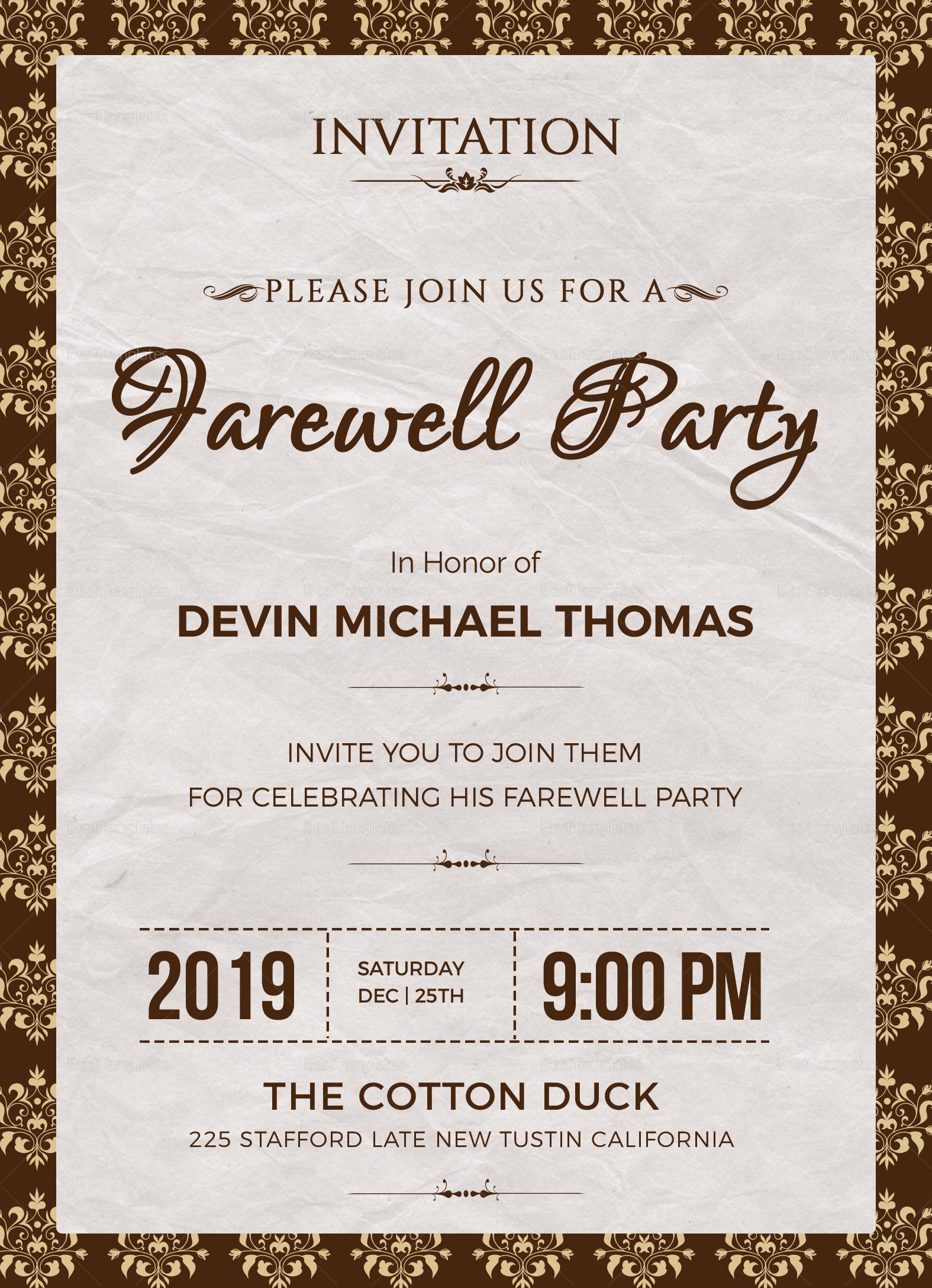 Farewell Invitation Design