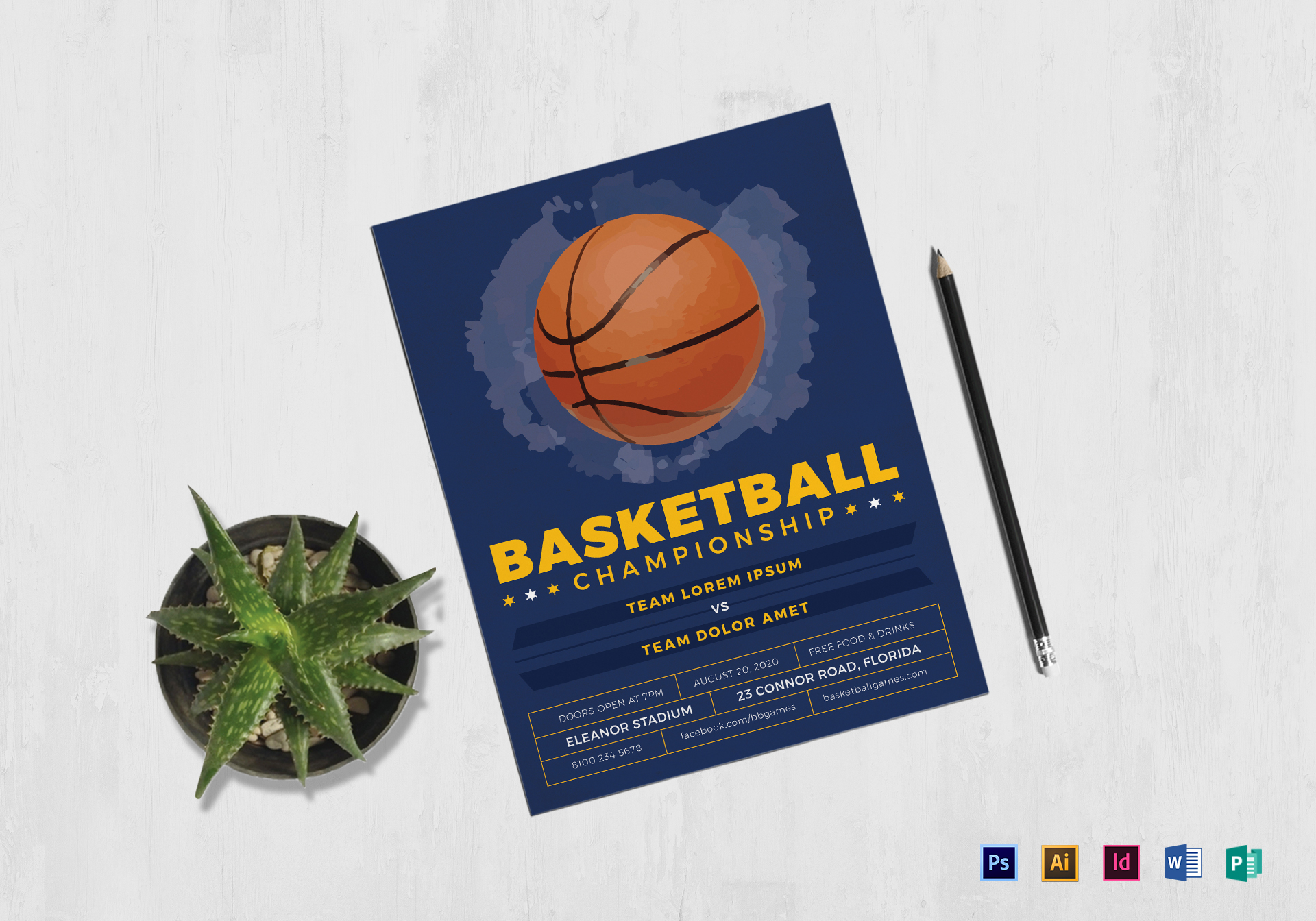Basketball Flyer Design Template In Psd Word Publisher
