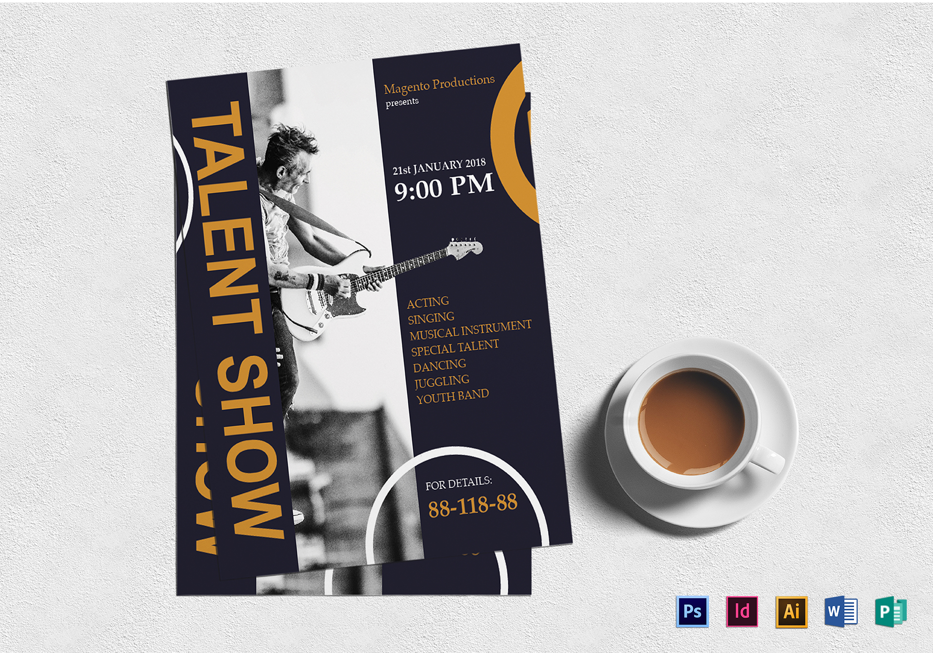 Talent Show Flyer Design Template in Word, PSD, Publisher ...
