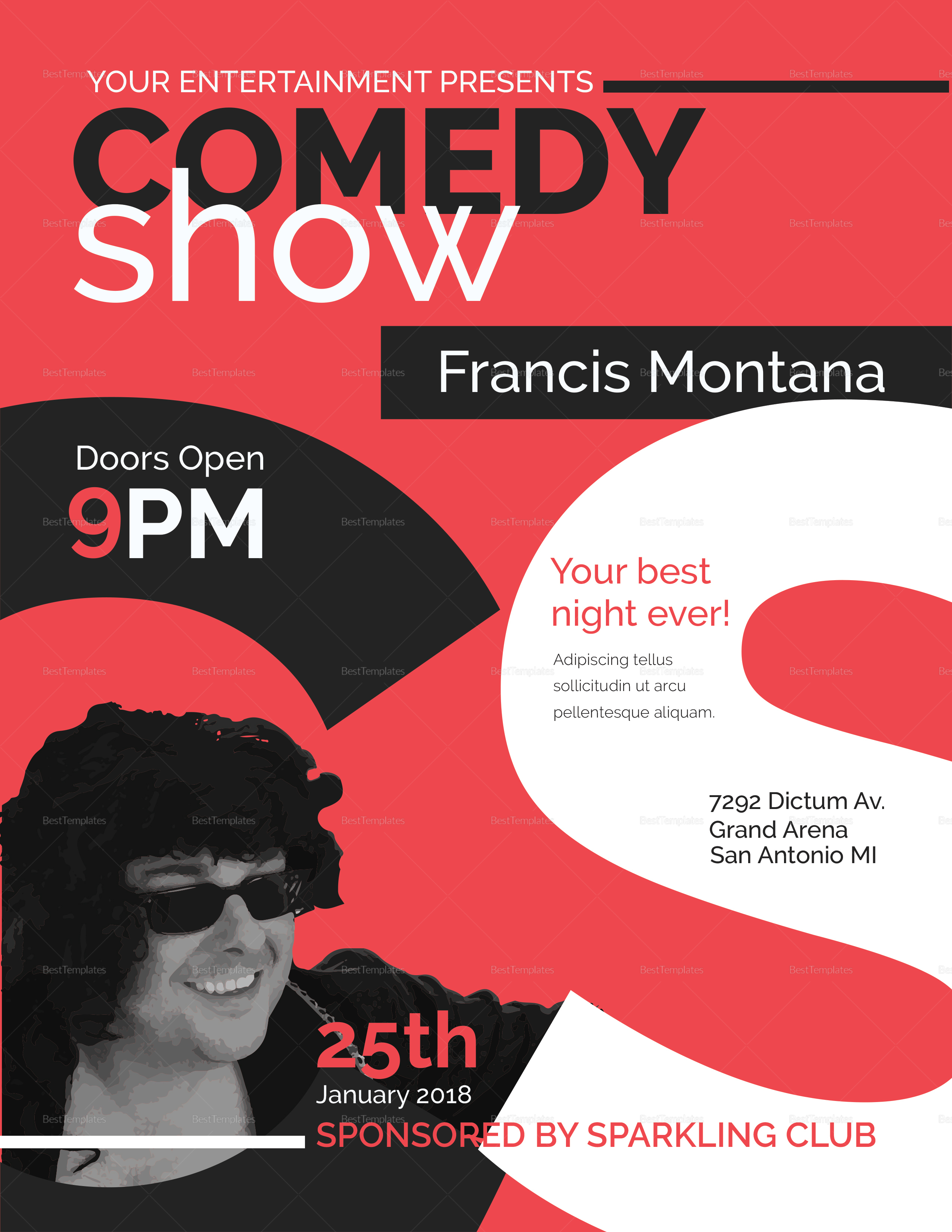 comedy show flyer design template in word  psd  publisher
