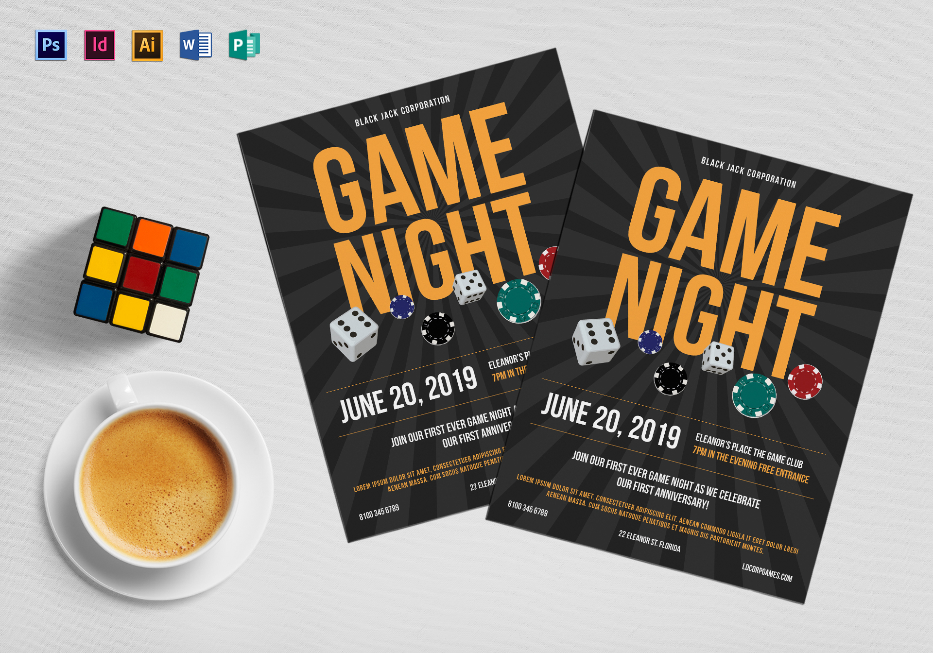 Casino Gaming Flyer Design Template in PSD, Word, Publisher ...