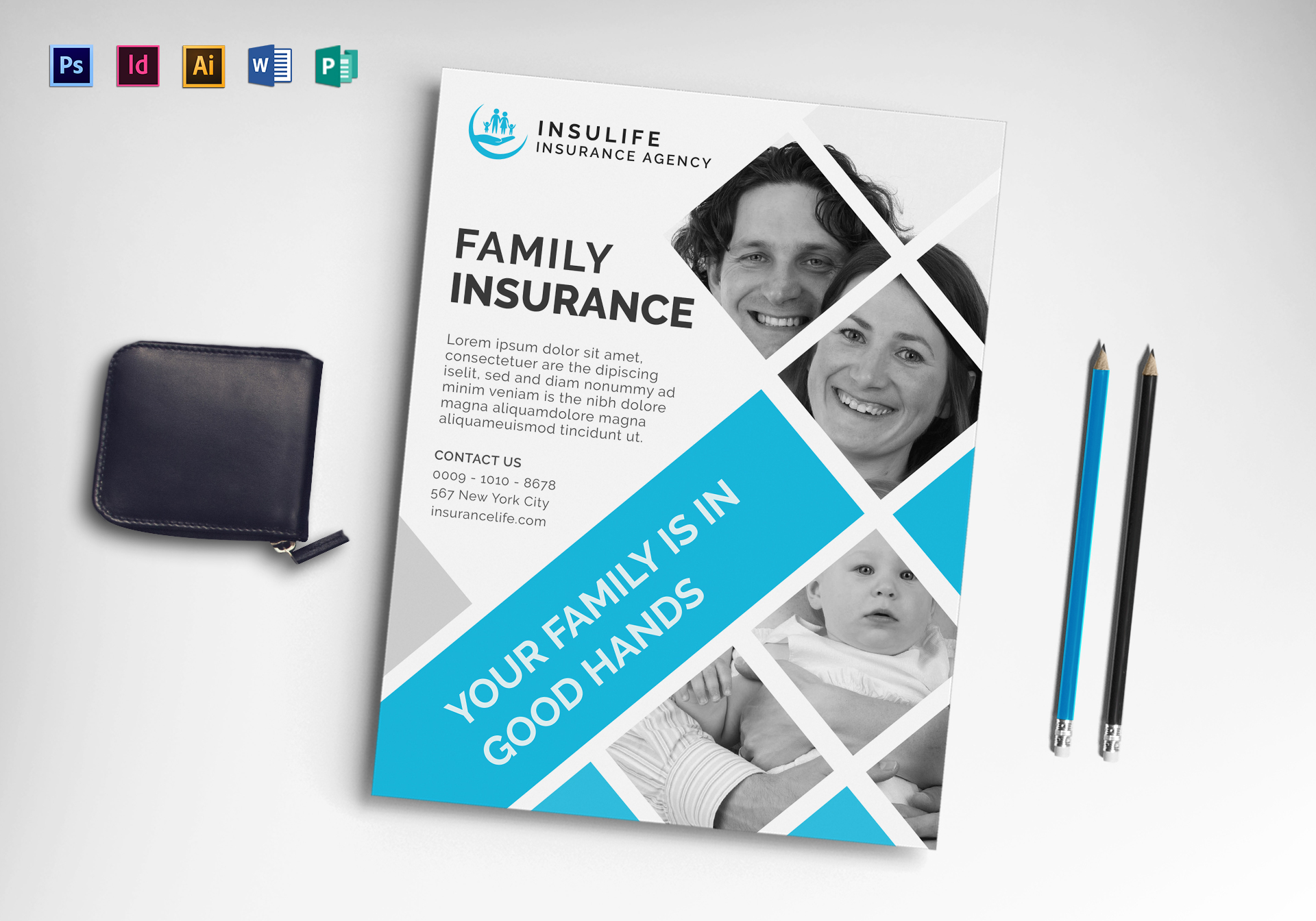 Insurance Flyer Design Template In Word PSD Publisher Illustrator - Insurance brochure template