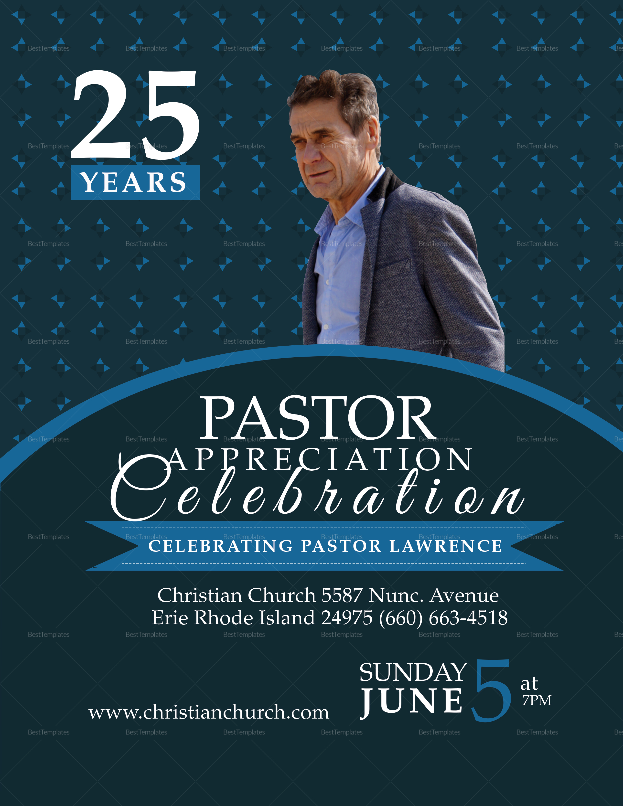 pastor anniversary flyer design template in word psd