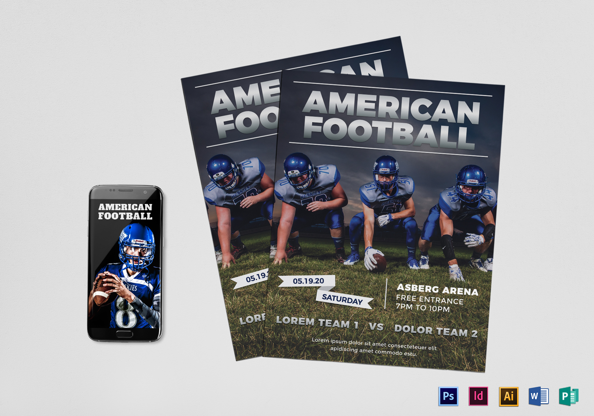 American football flyer design template in psd word publisher american football flyer american football flyer template maxwellsz