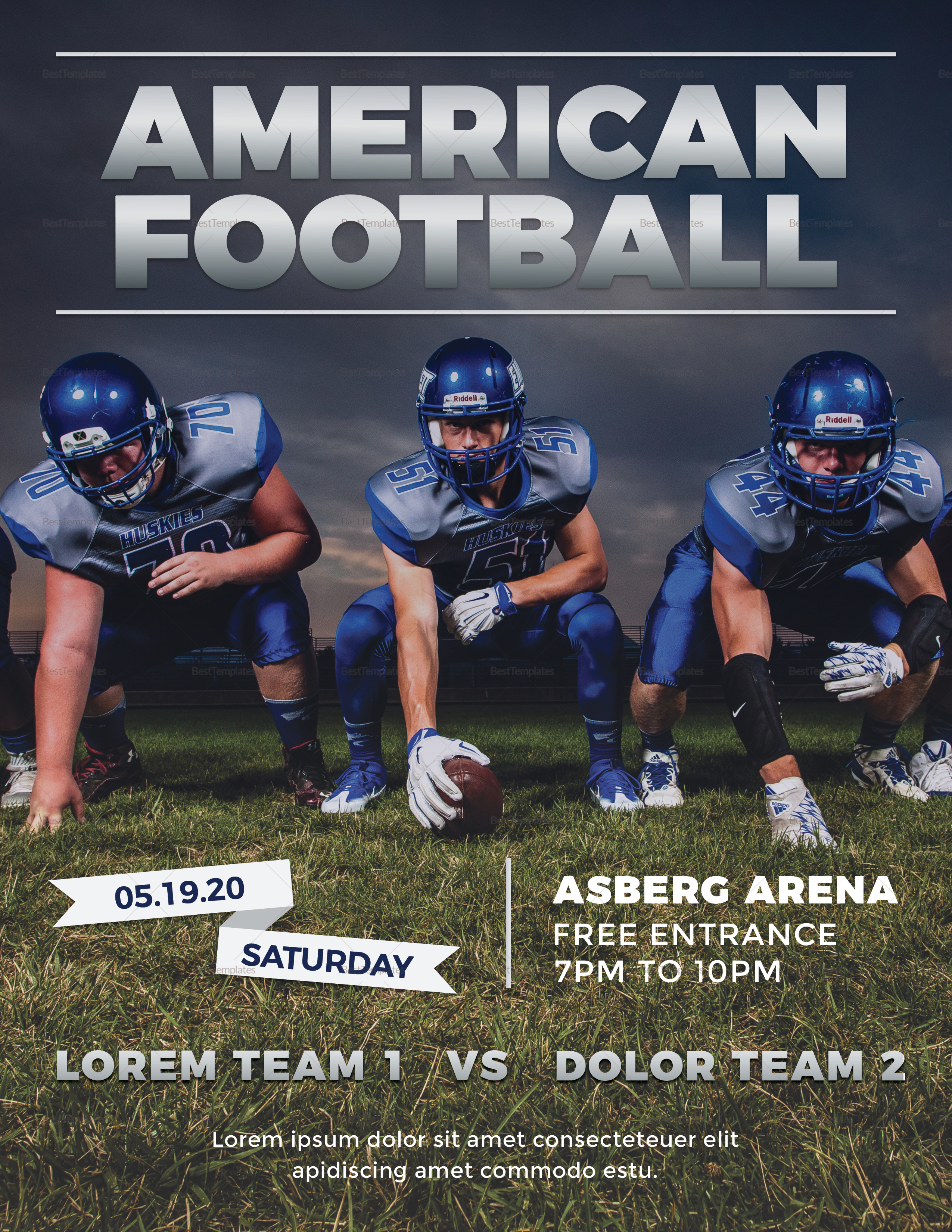 american football flyer design template in psd word publisher