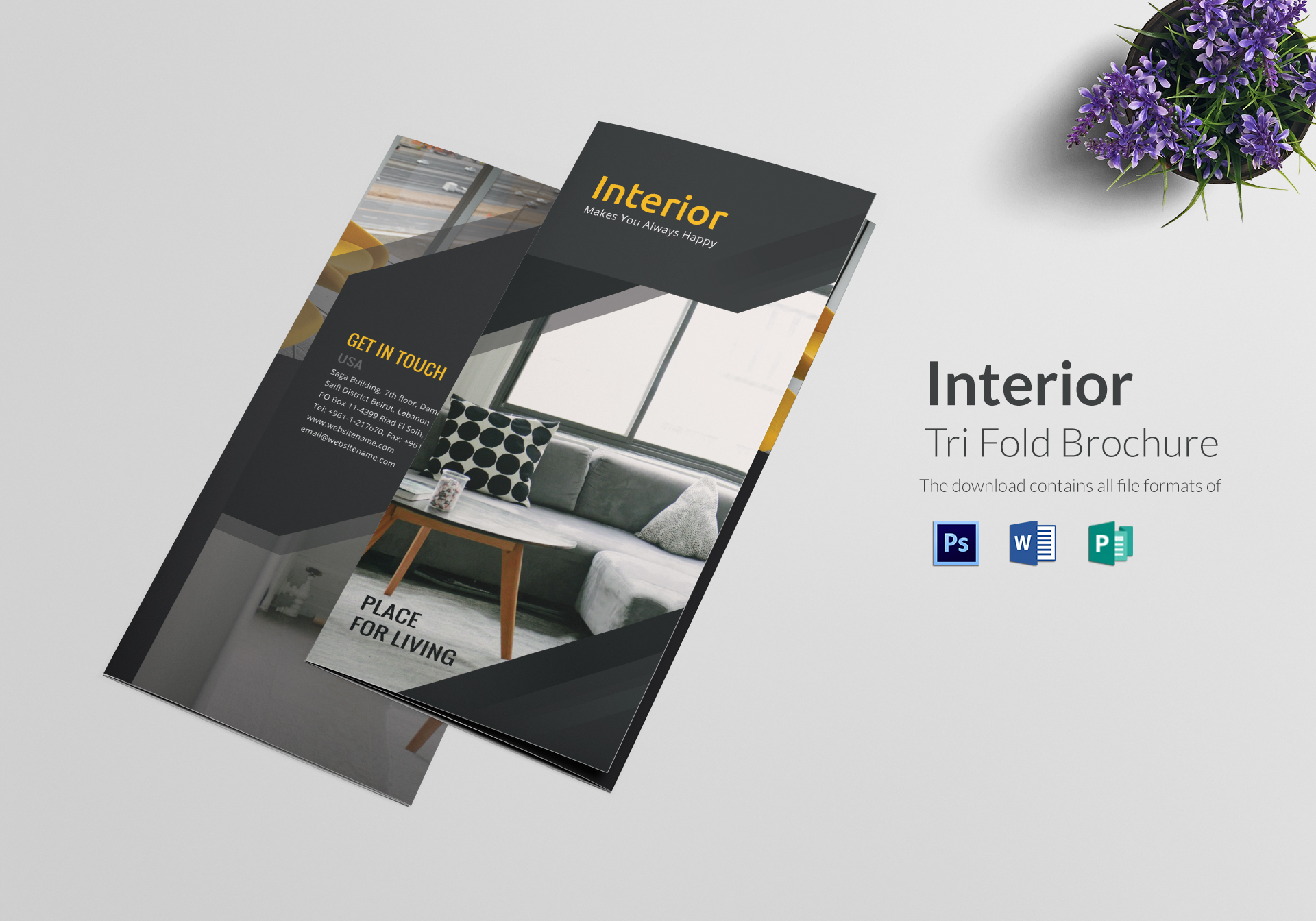 Tri Fold Interior Brochure Design Template in PSD, Word, Publisher