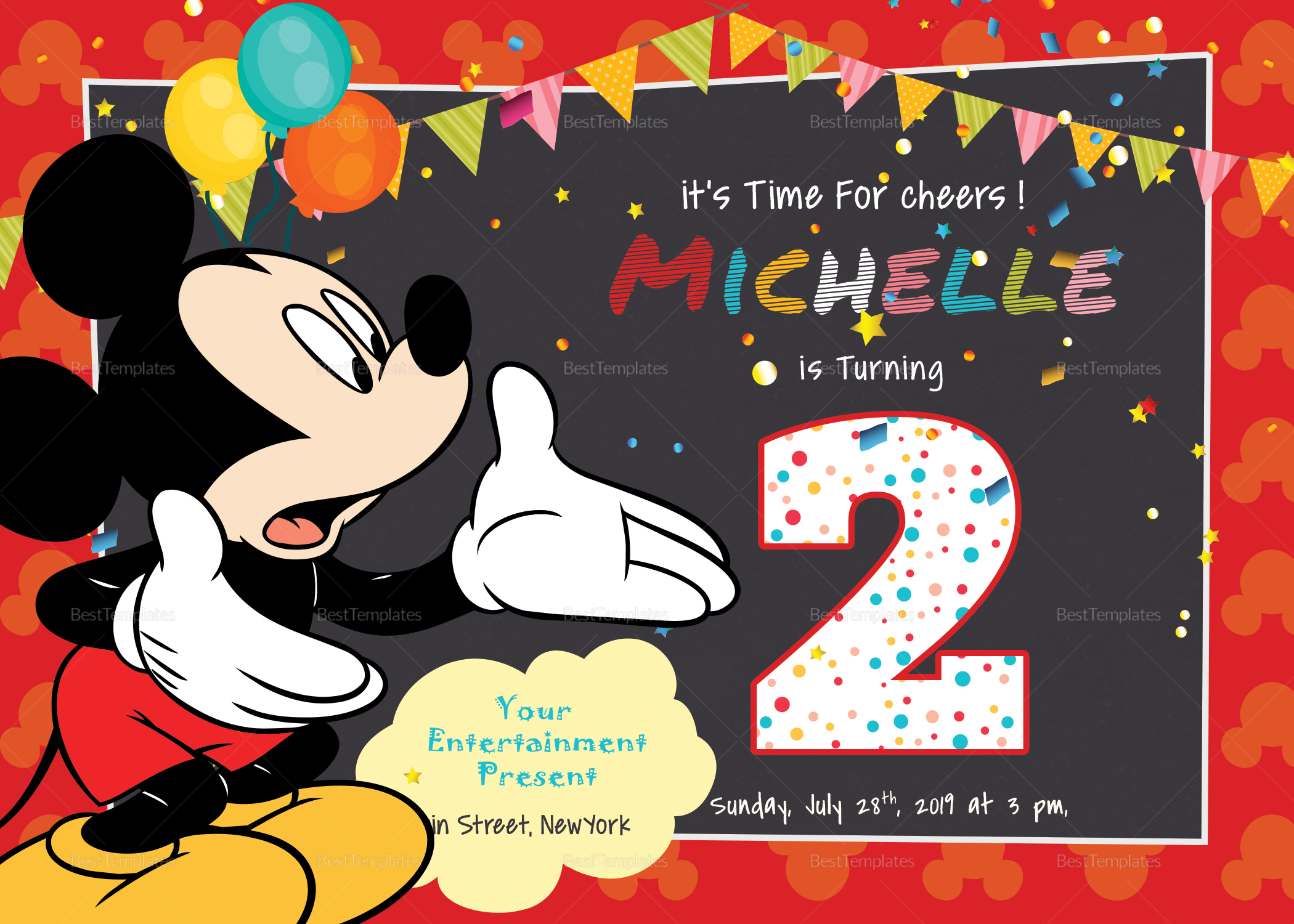 Great Mickey Mouse Birthday Invitation Card Design Template In Psd