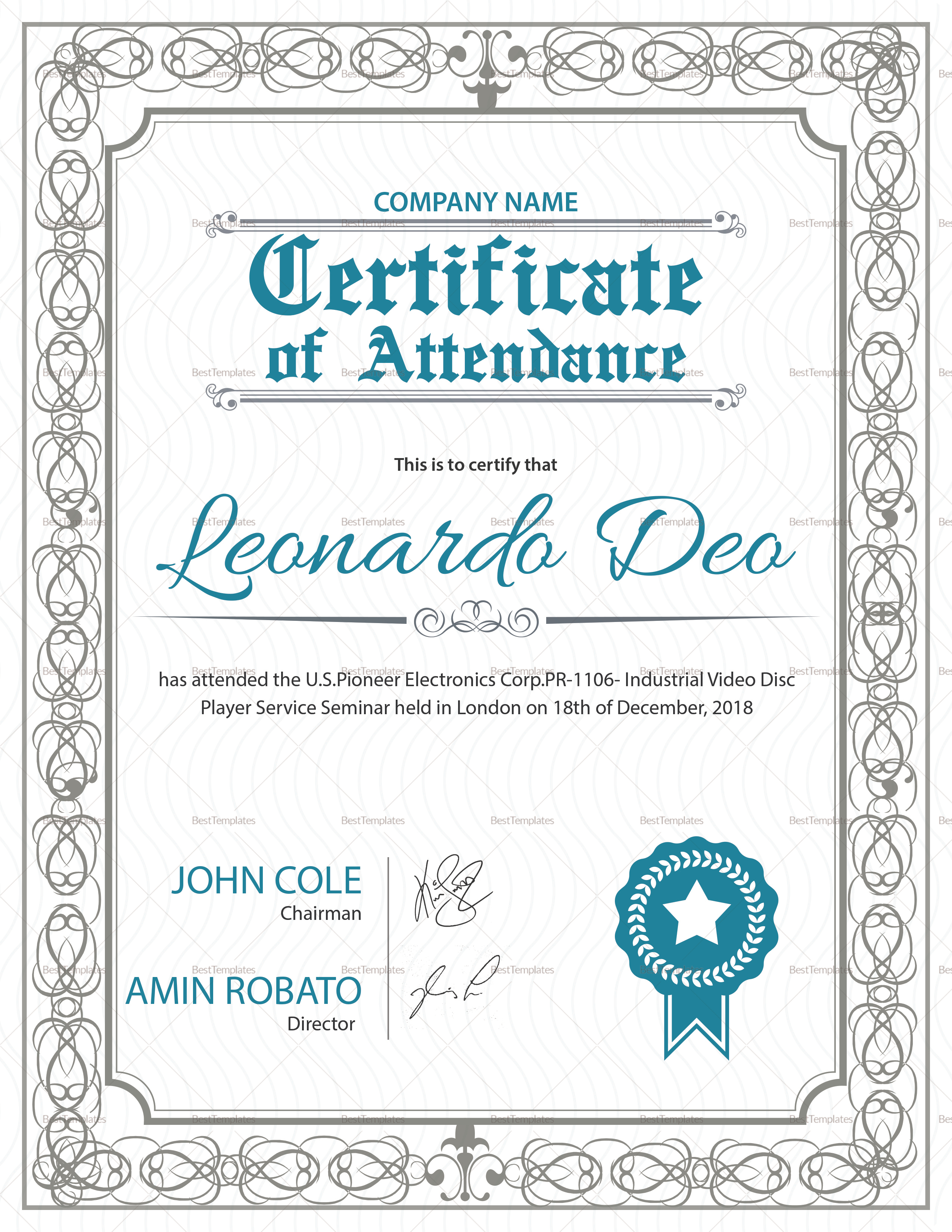 Regular attendance certificate design template in psd word regular attendance certificate regular attendance certificate template yadclub Choice Image