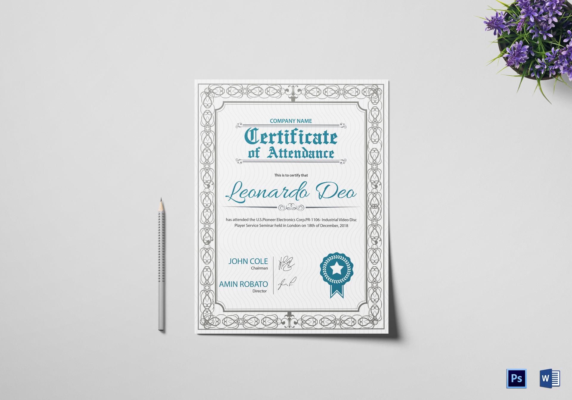 Regular Attendance Certificate