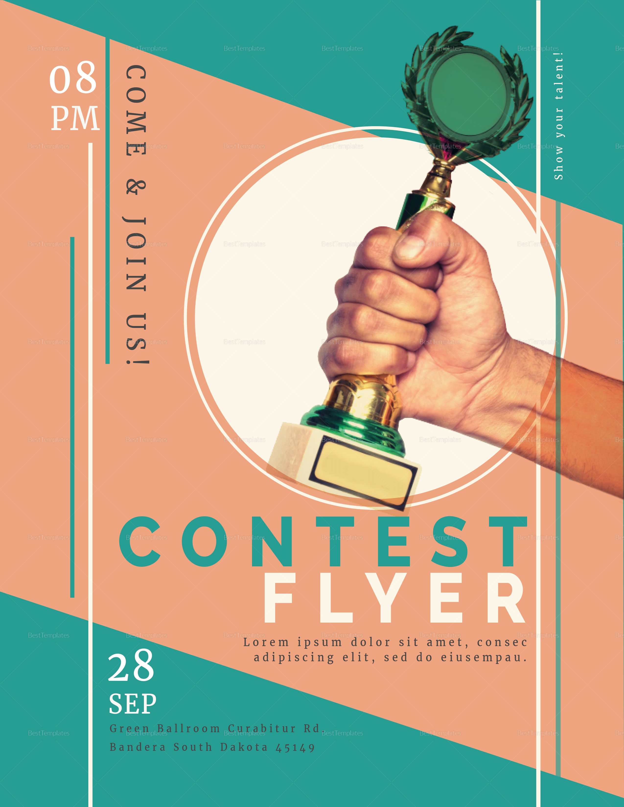 prize contest flyer design template in psd  word