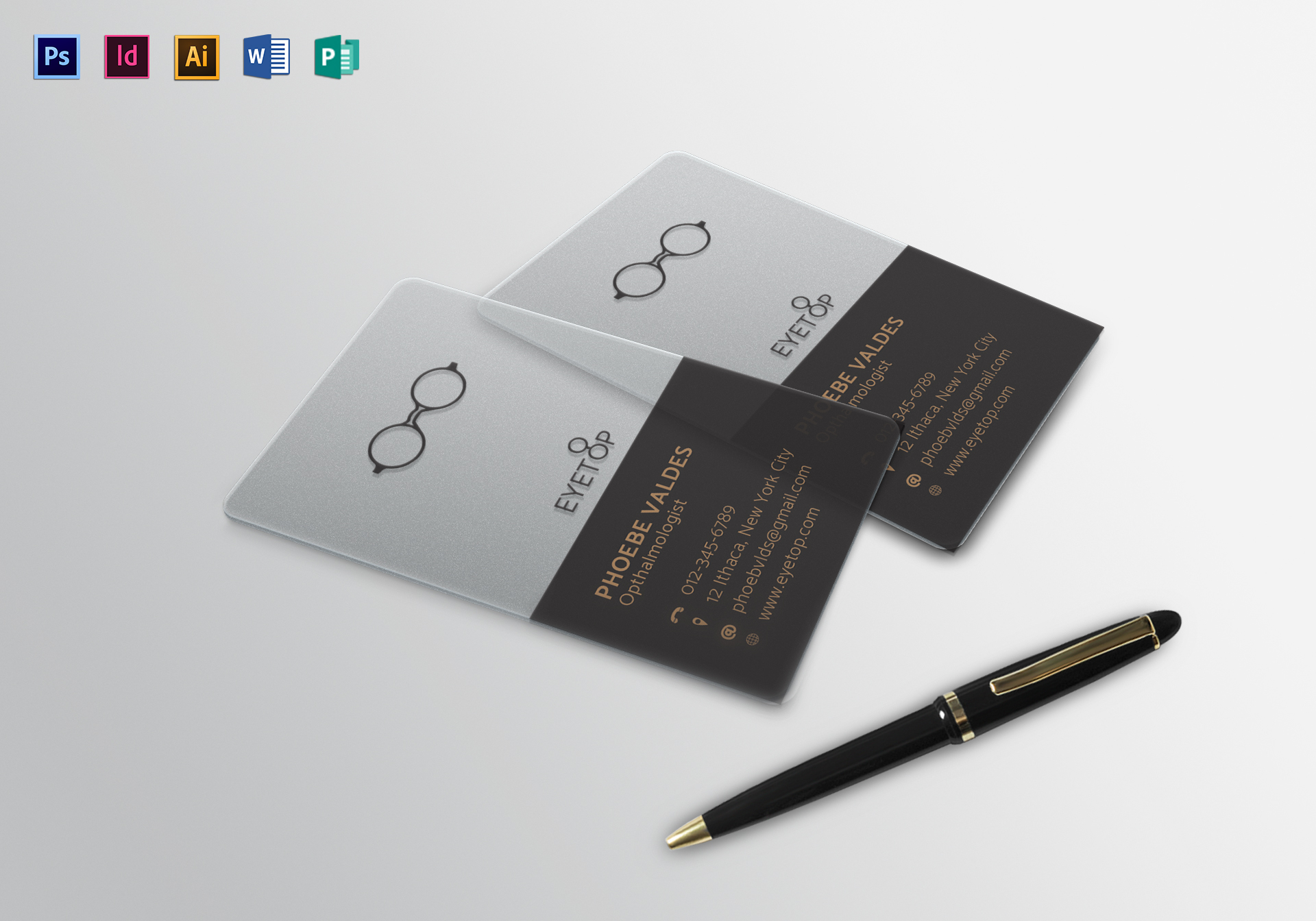 Transparent business card design template in psd word publisher transparent business card transparent business card template accmission Images