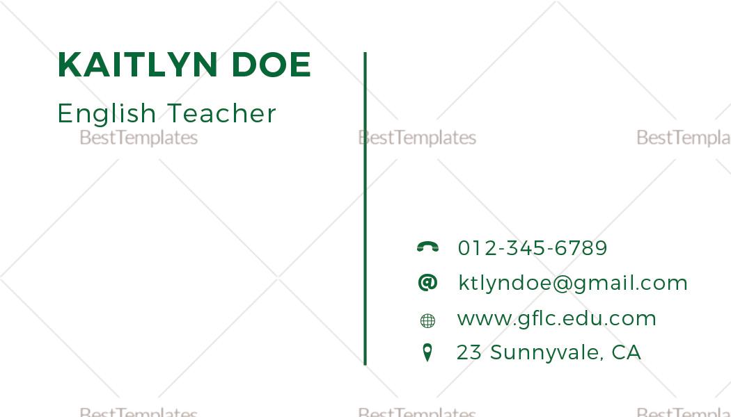 Teacher Business Card Template
