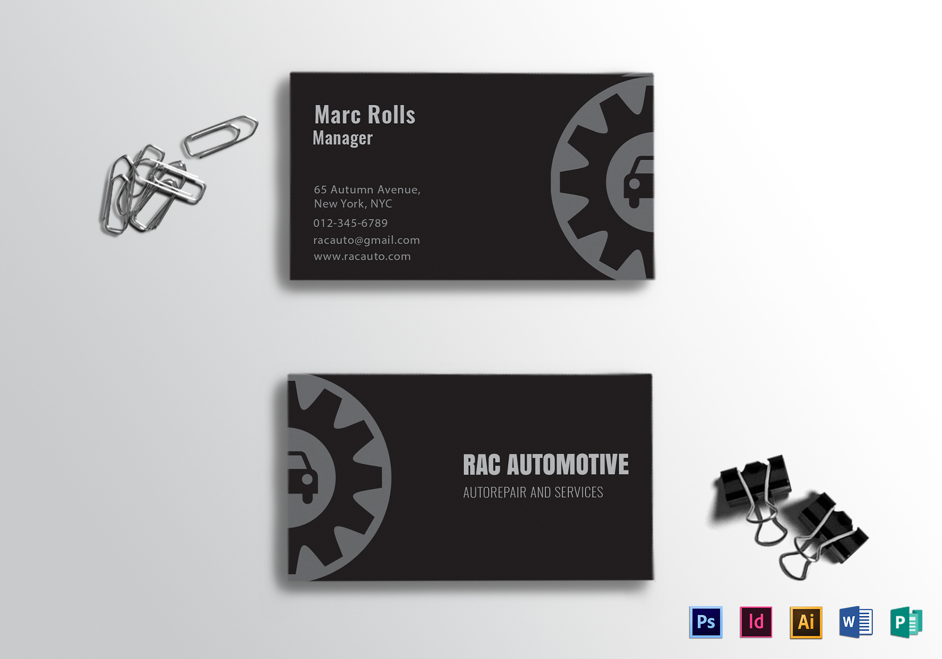 Automotive Business Card Design Template in PSD, Word, Publisher ...