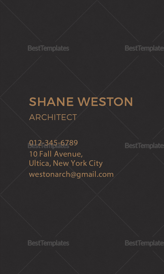 Black Architect Business Card Template