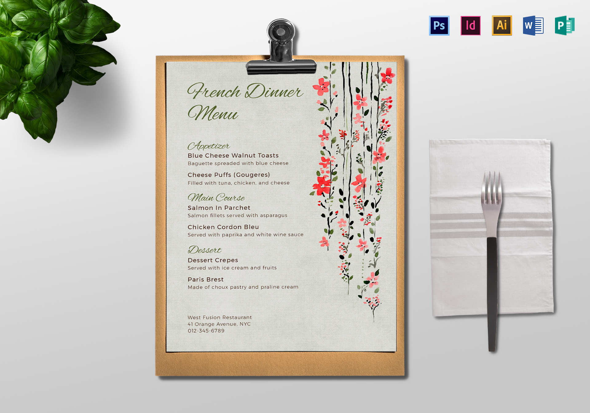 dinner menu design template in psd  word  publisher