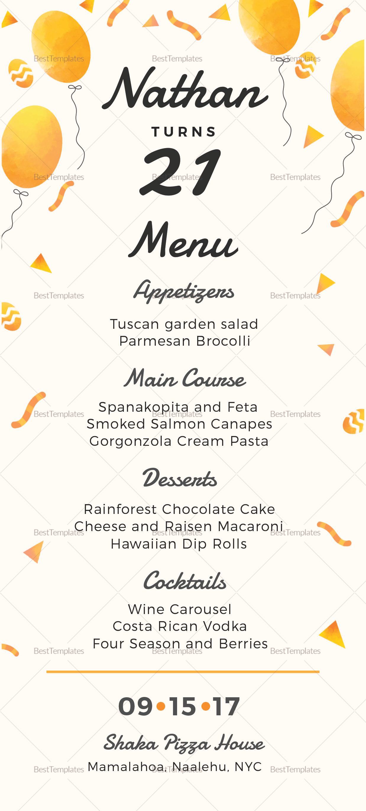 free menu templates for dinner party - birthday party menu design template in psd word