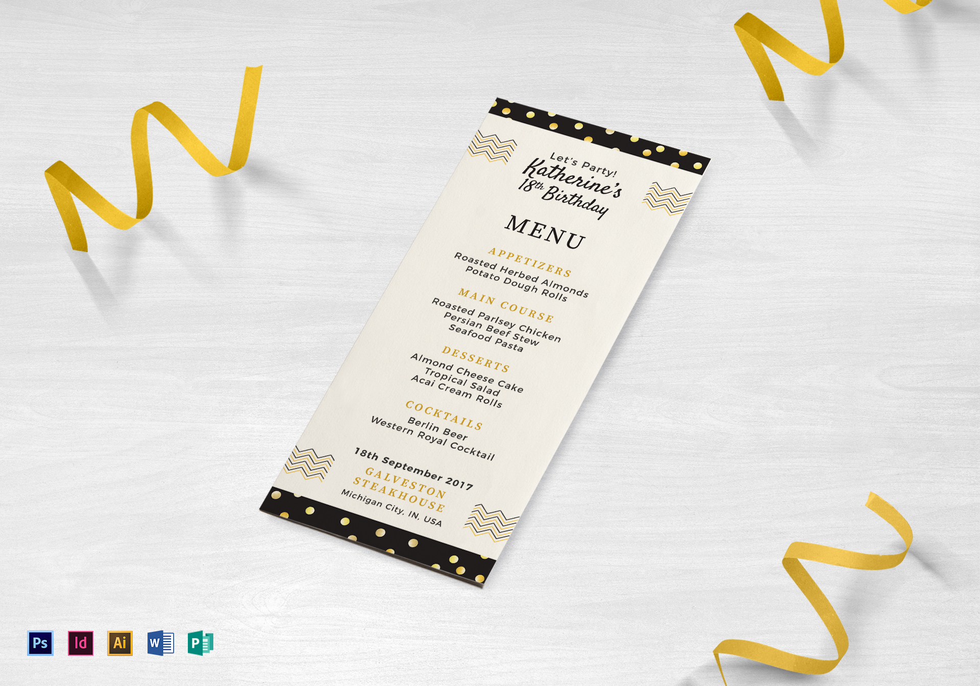 birthday dinner party menu design template in psd word publisher