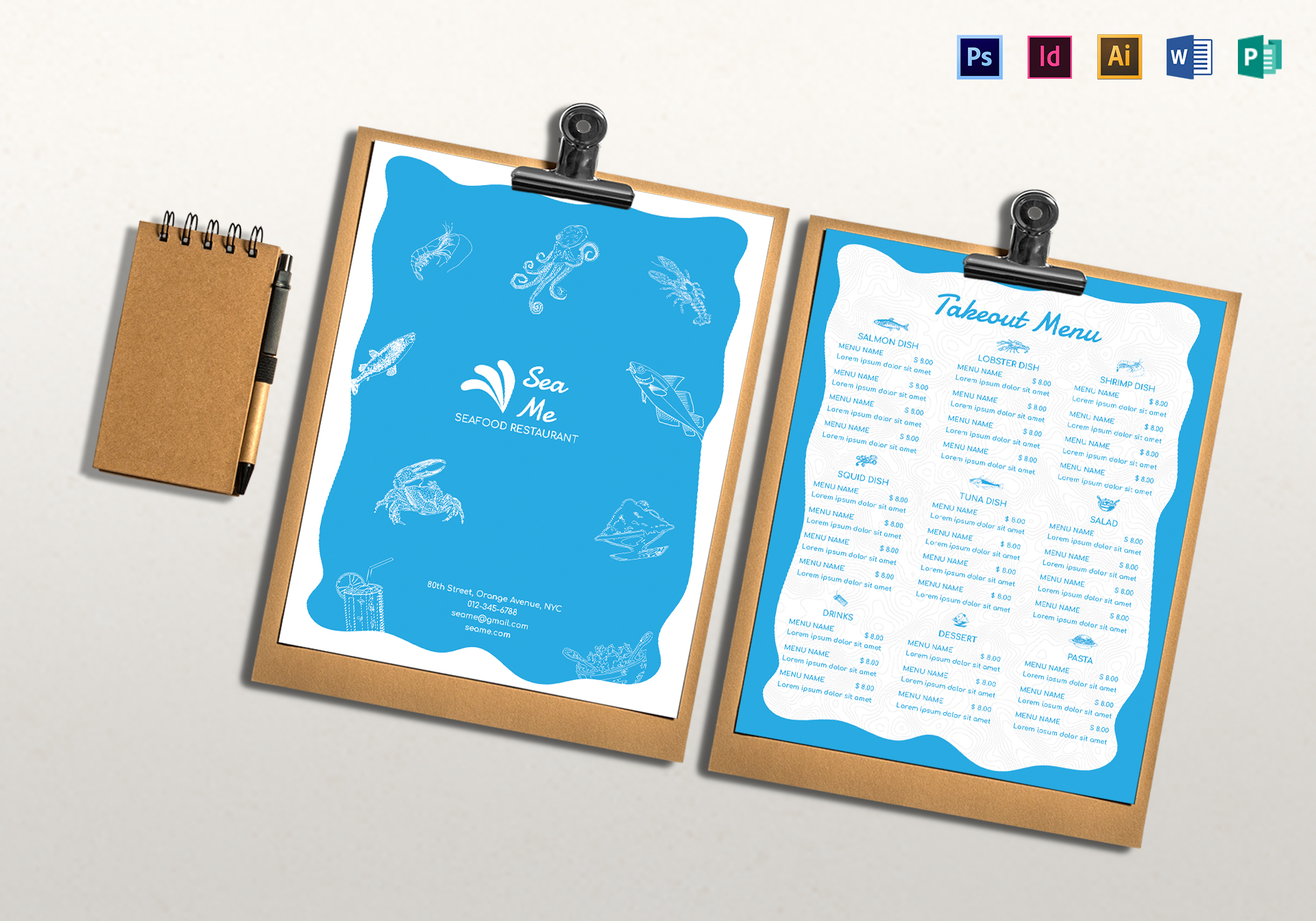 Takeout Menu Design Template In PSD Word Publisher Illustrator