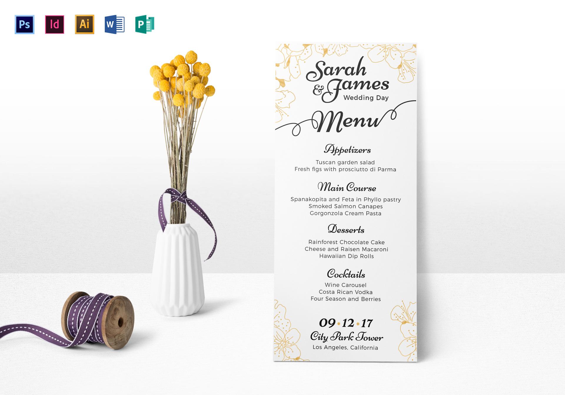 Reception Wedding Menu