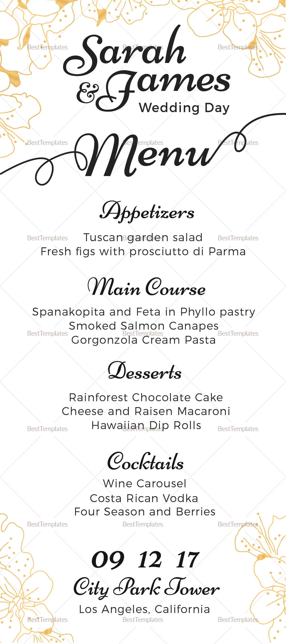 Reception wedding menu design template in psd word for Menu templates for weddings