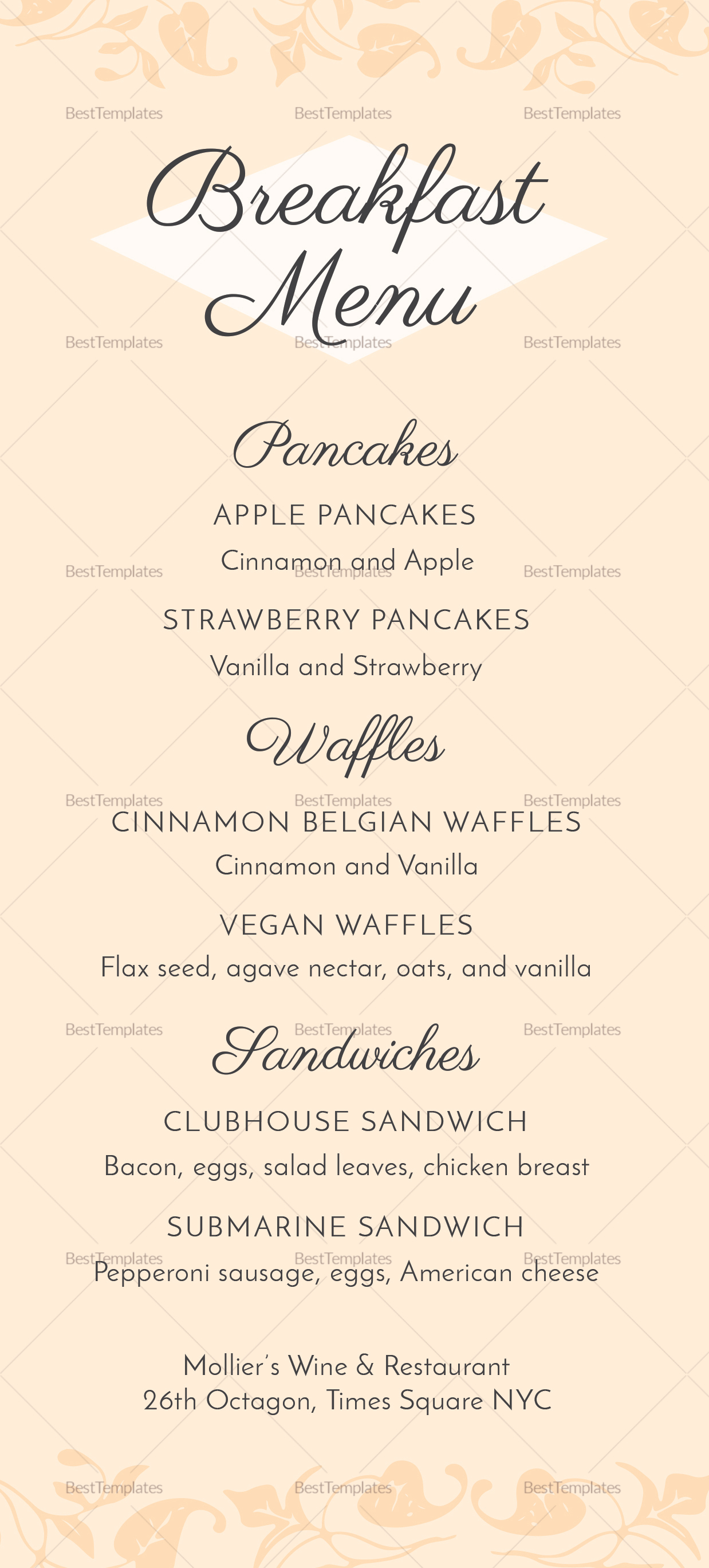 breakfast menu design template in psd  word  publisher