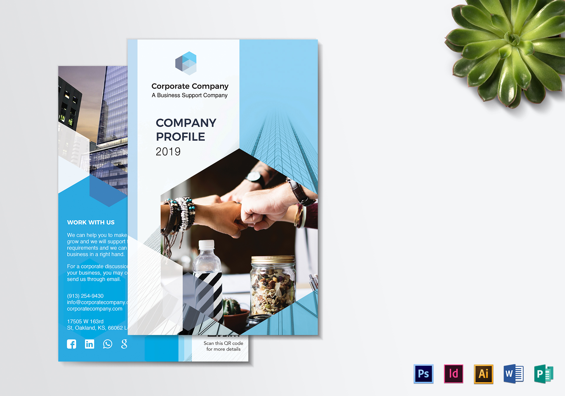 company profile bifold brochure design template in psd