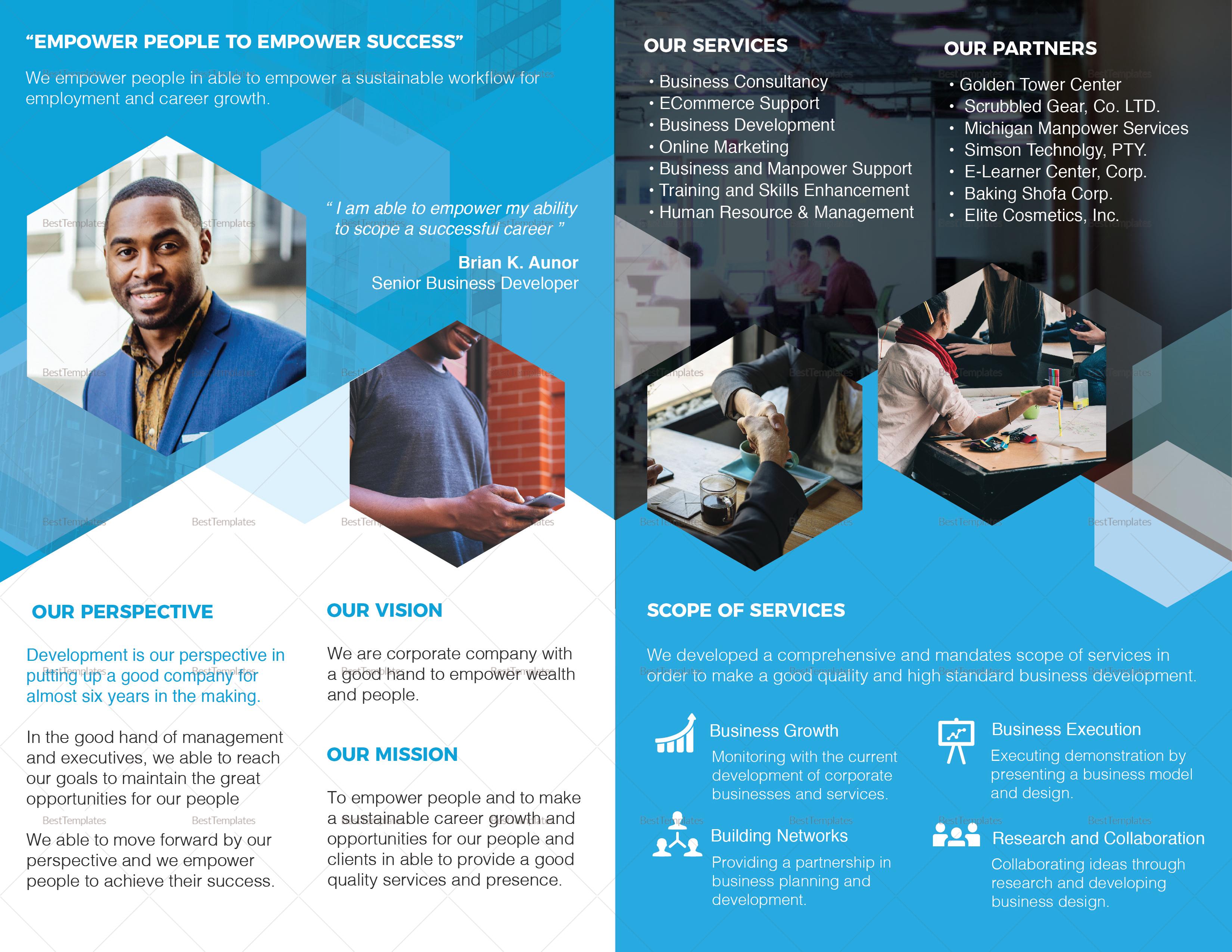 Company profile bi fold brochure design template in psd for Bi fold brochure template illustrator