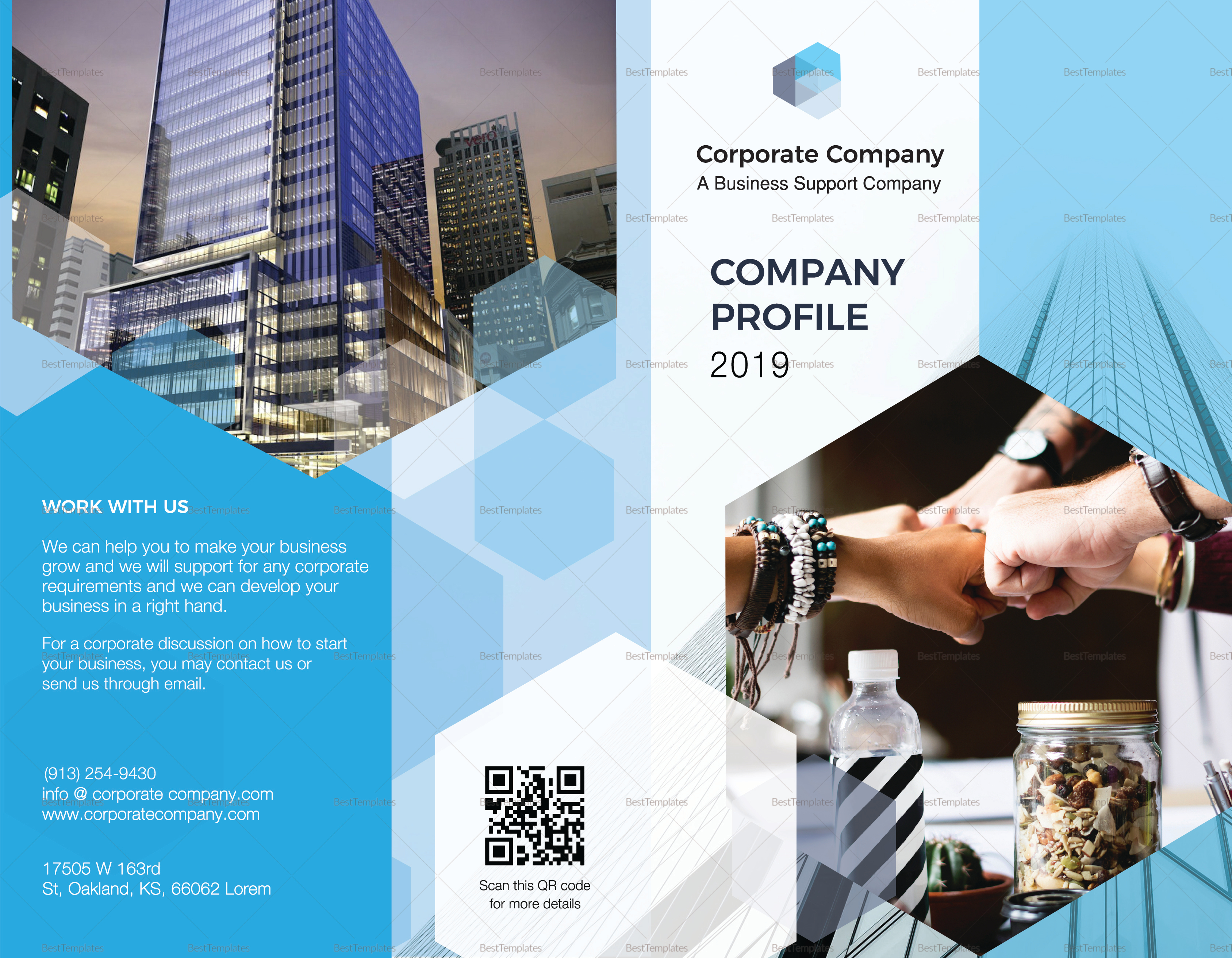 Company profile bi fold brochure design template in psd for Company profile brochure template