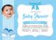 Baby Shower Blue Invitation Card Design Template