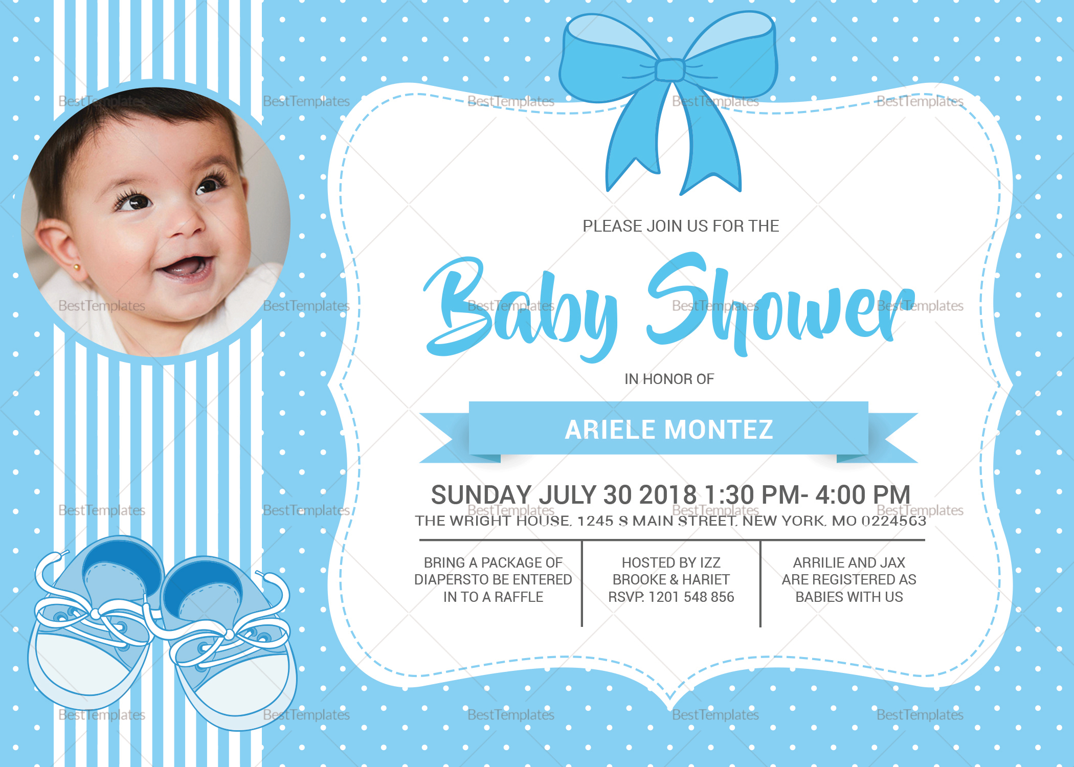 Baby Shower Blue Invitation Card Template