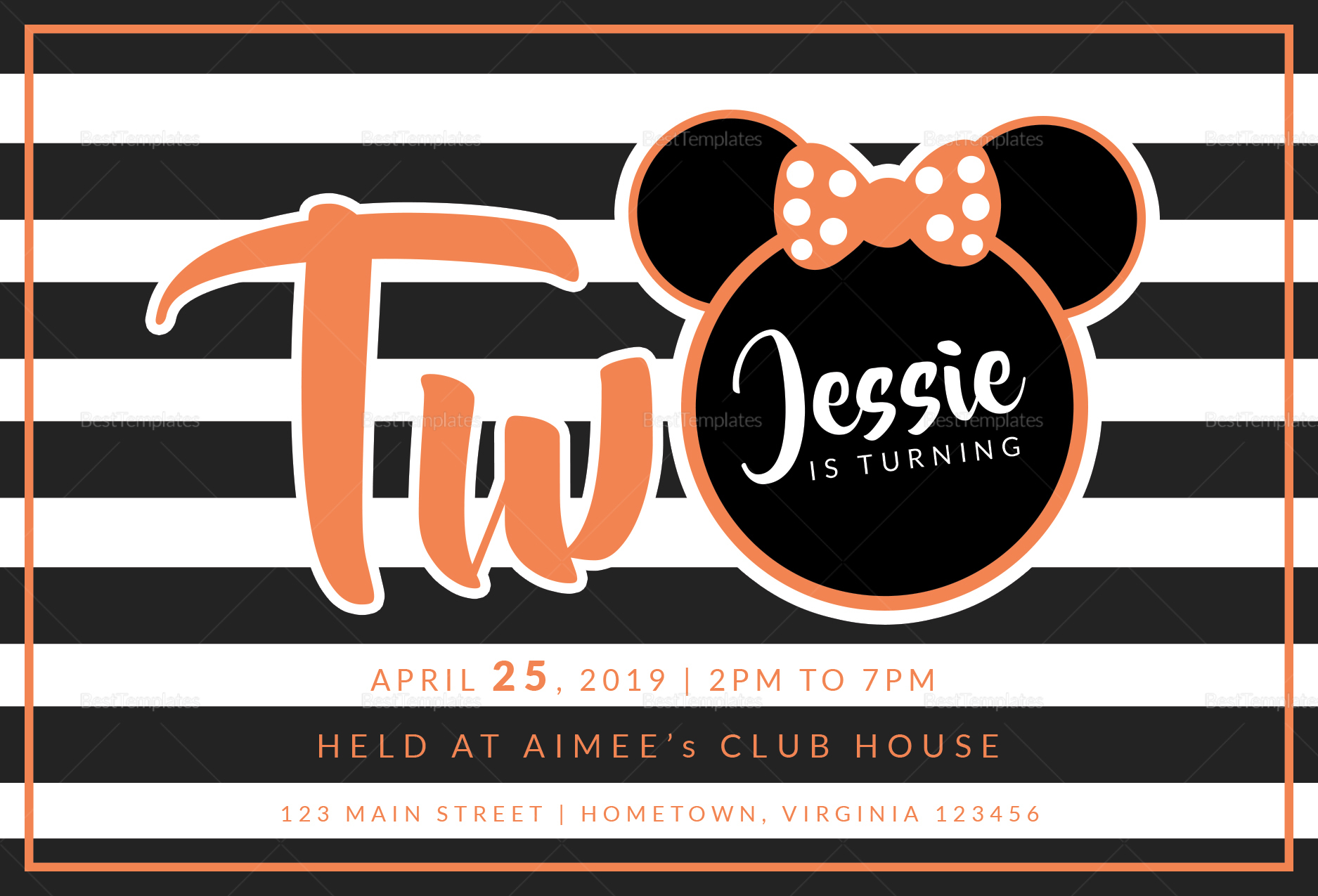 Young Minnie Mouse 2nd Birthday Invitation Template