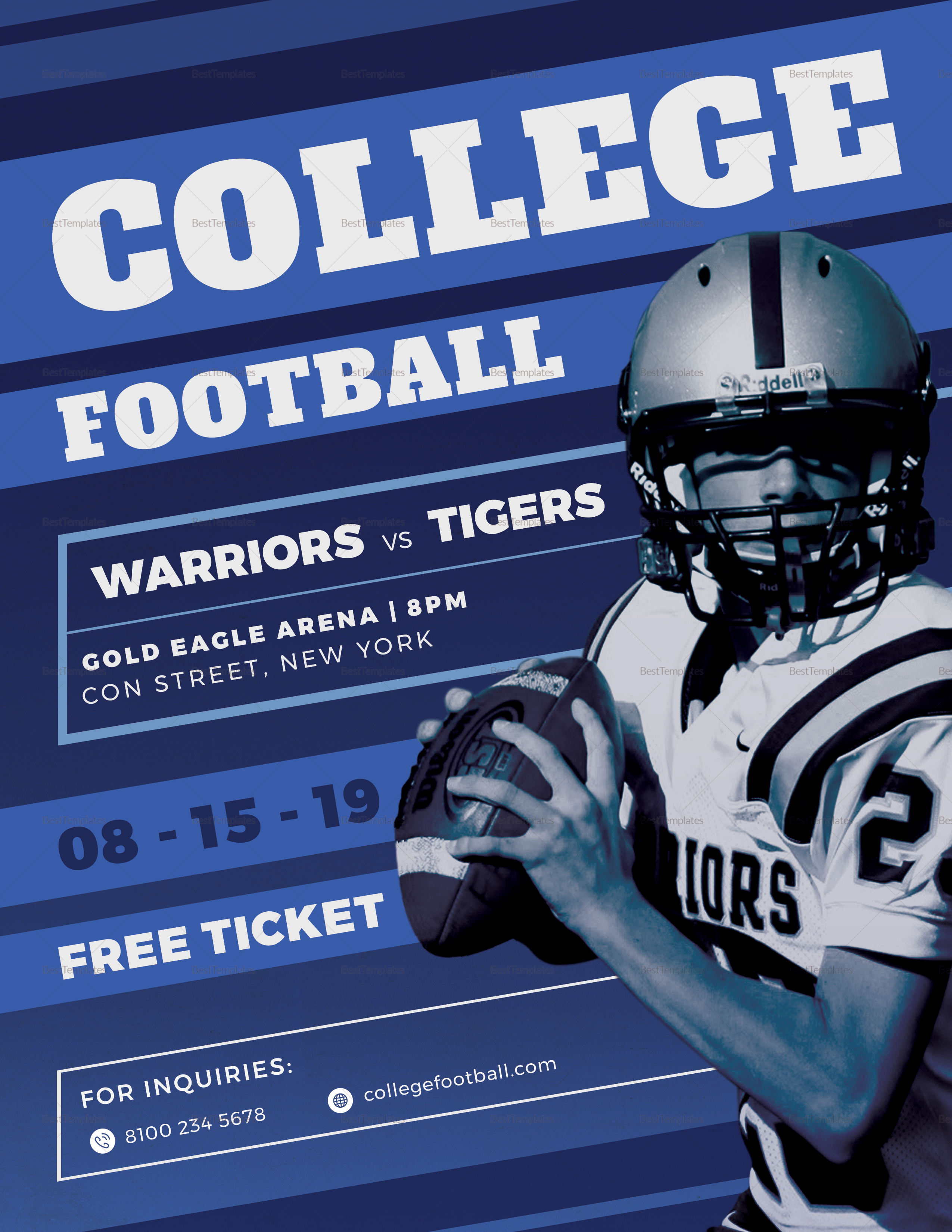 College Football Flyer Design Template In Psd Word Publisher