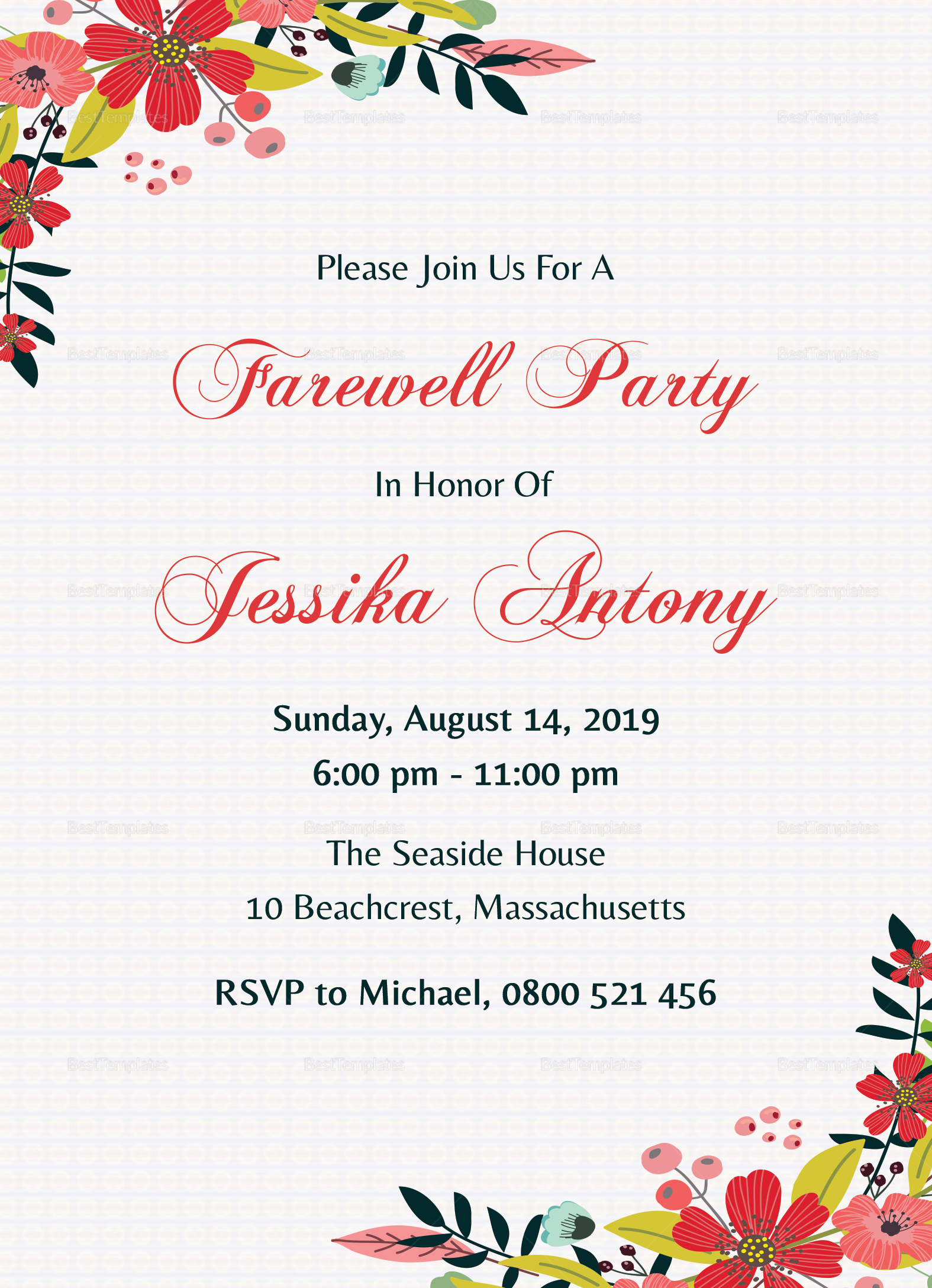 Classic Farewell Party Invitation Design