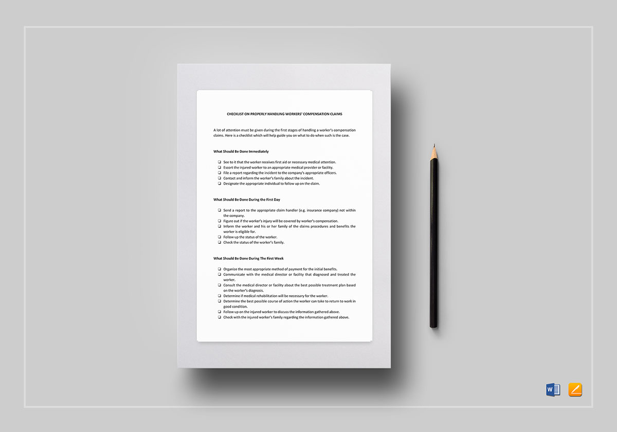 Worker's Compensation Claims Checklist Template
