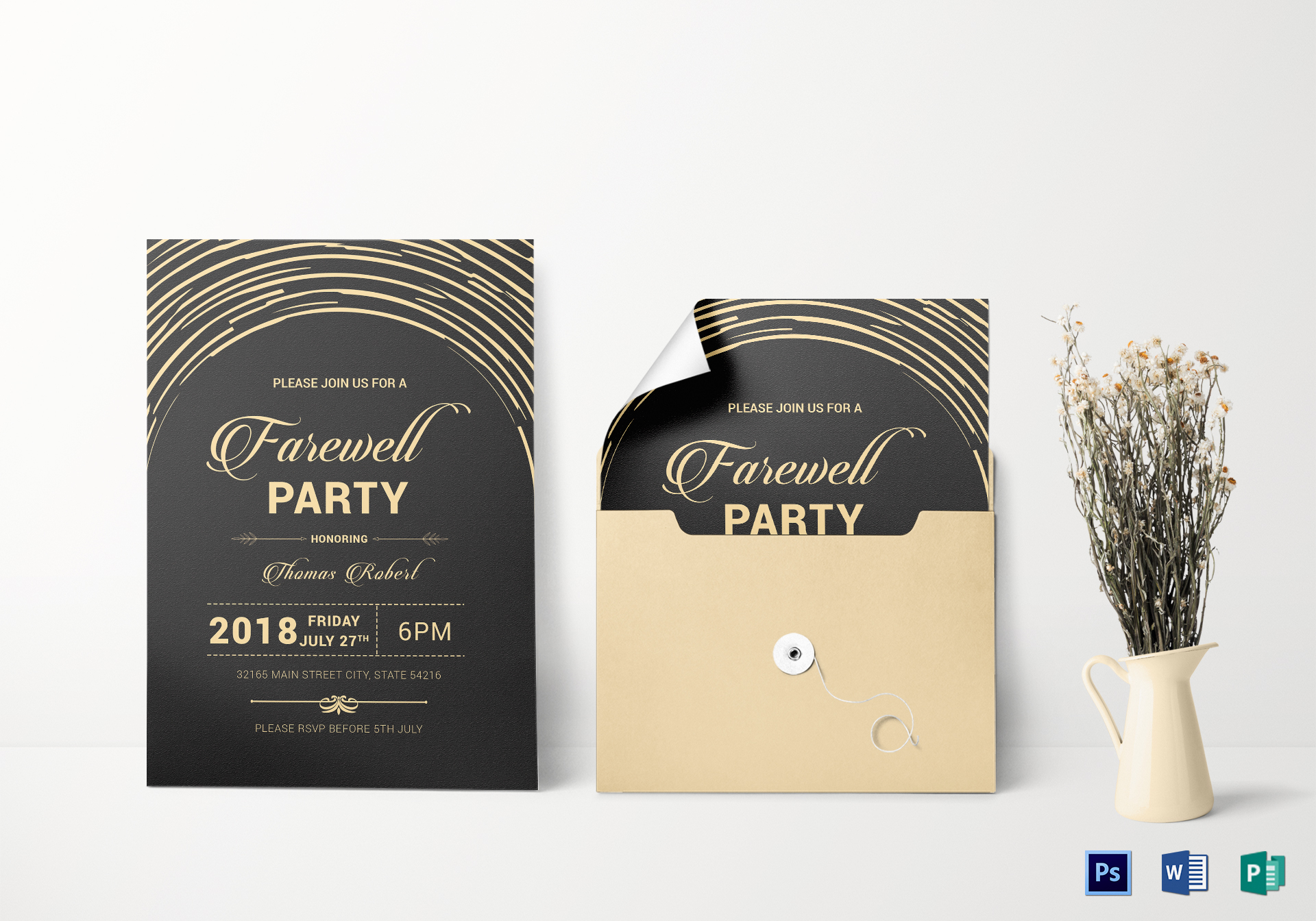 Modern farewell party invitation design template in word psd publisher modern farewell party invitation stopboris Image collections