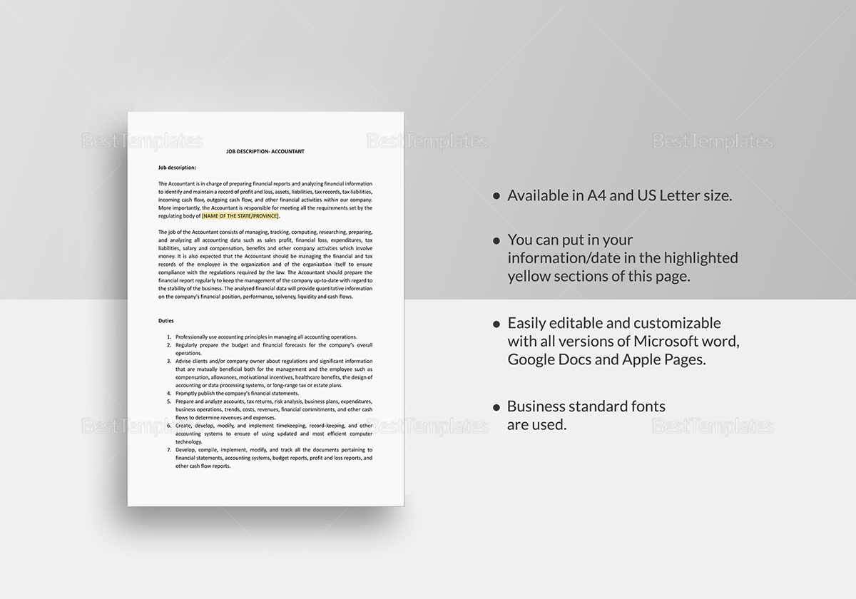 Accountant Job Description Template