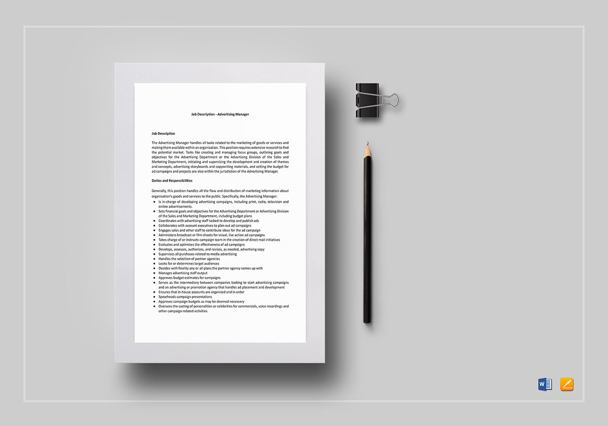advertising manager job description template in word  google docs  apple pages