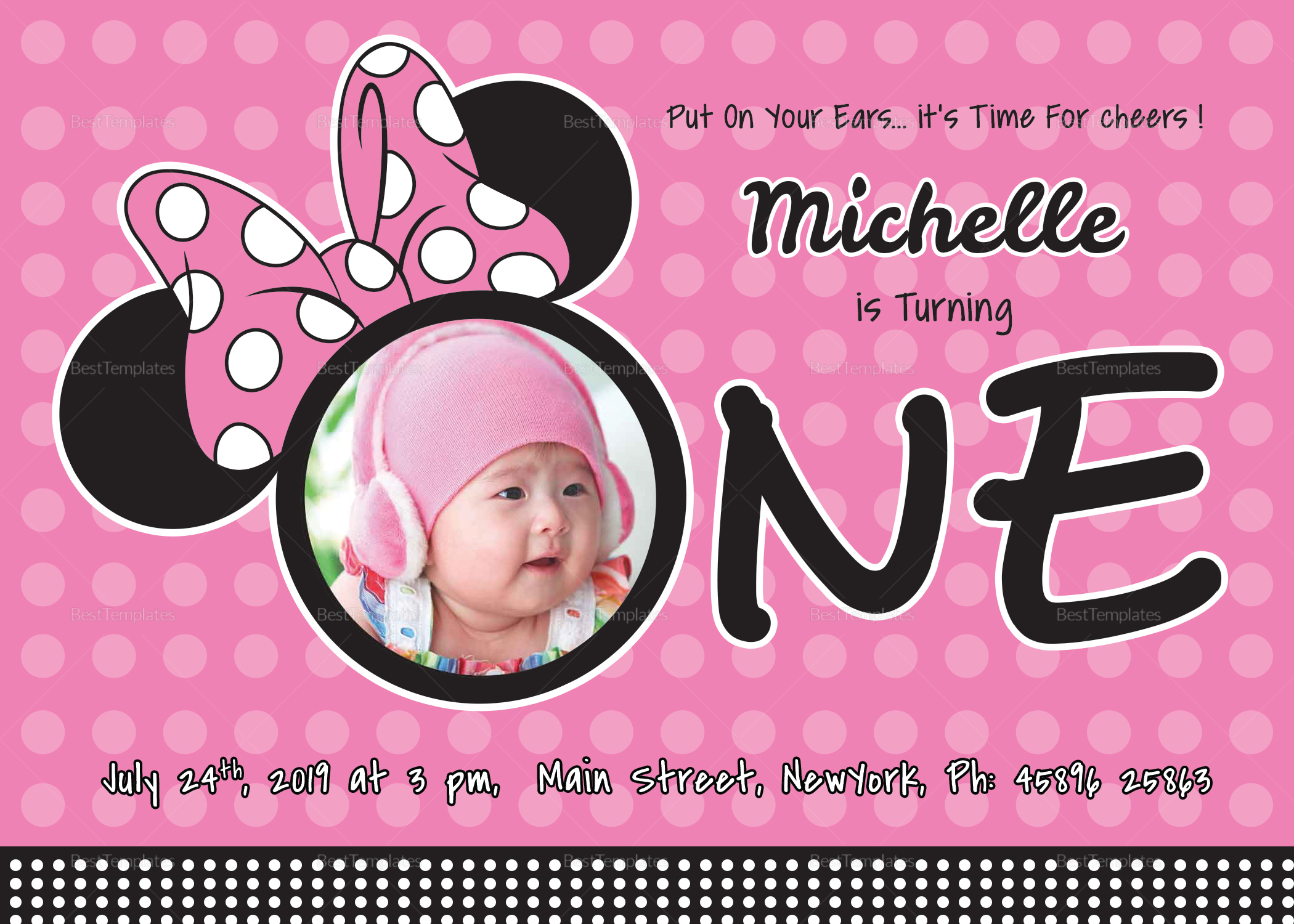 Wonderful Minnie Mouse Birthday Invitation Card Template