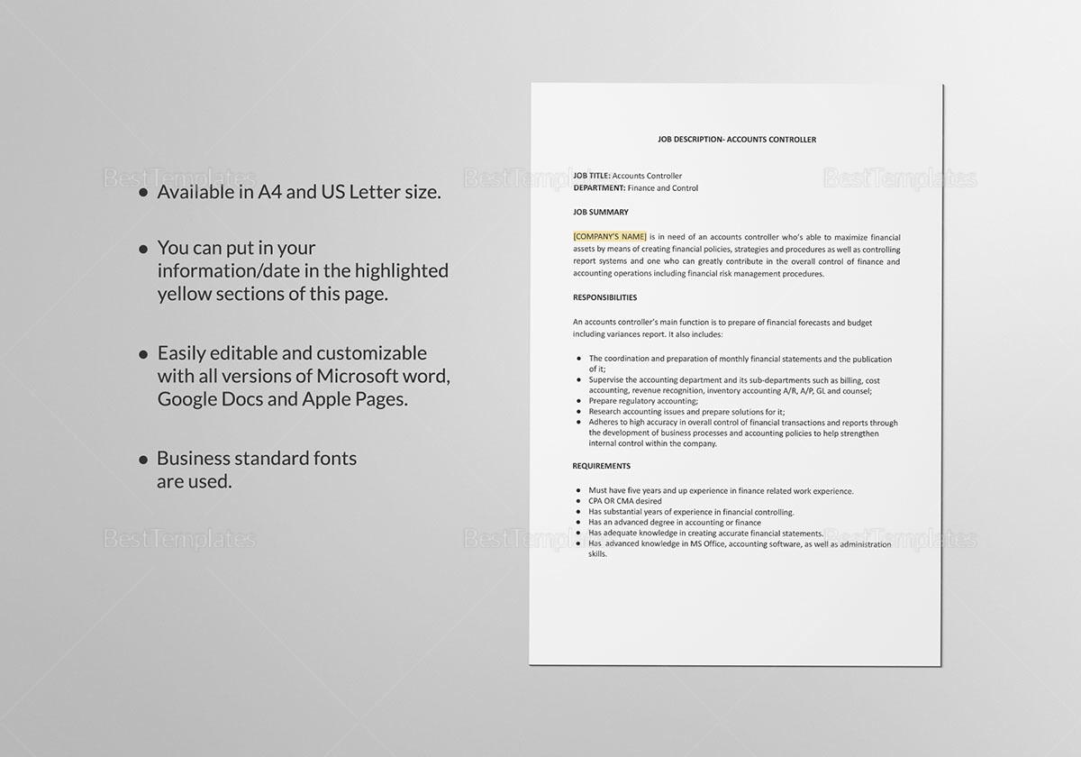 Accounts Controller Job Description Template
