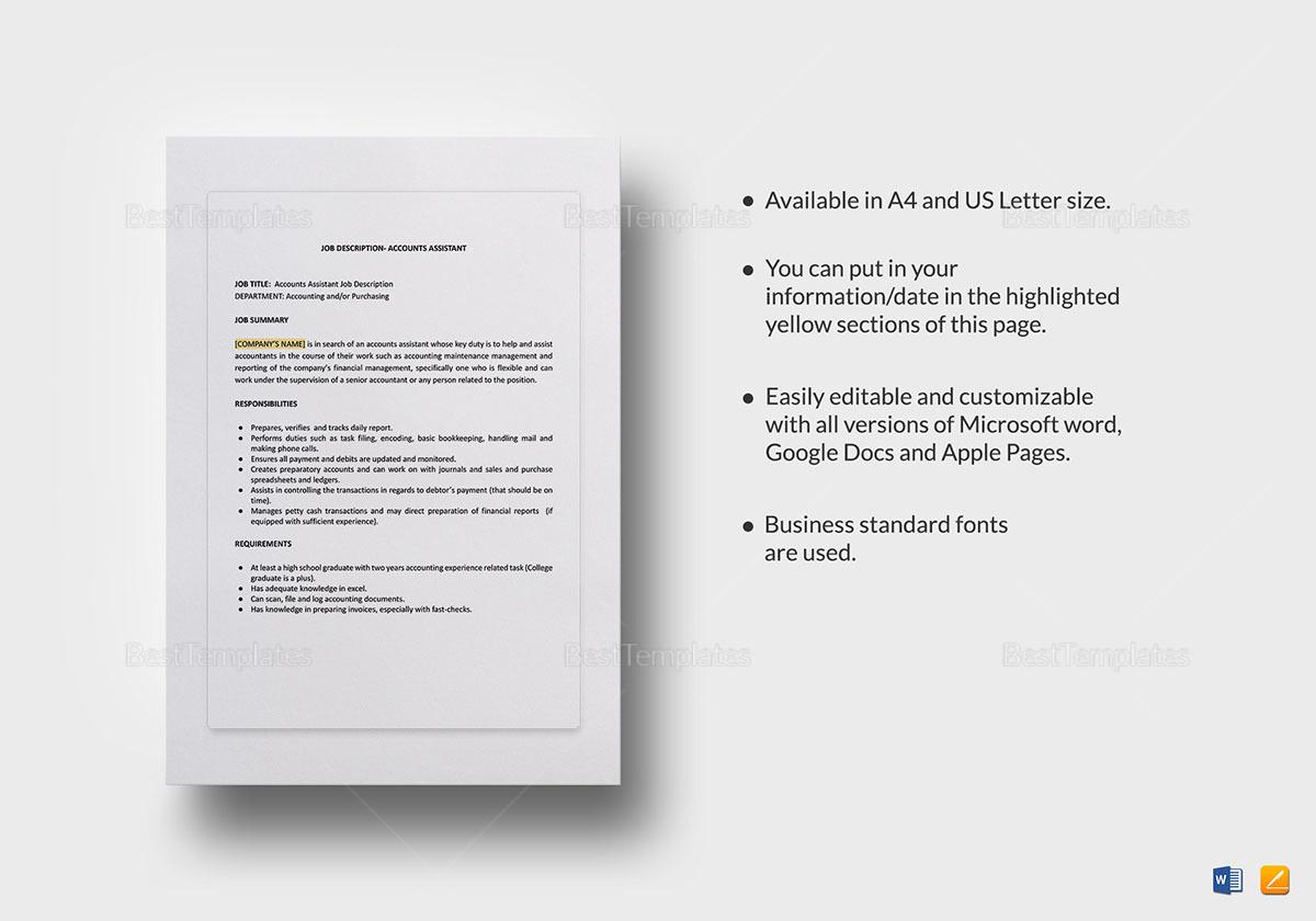 Accounts Assistant Job Description Template