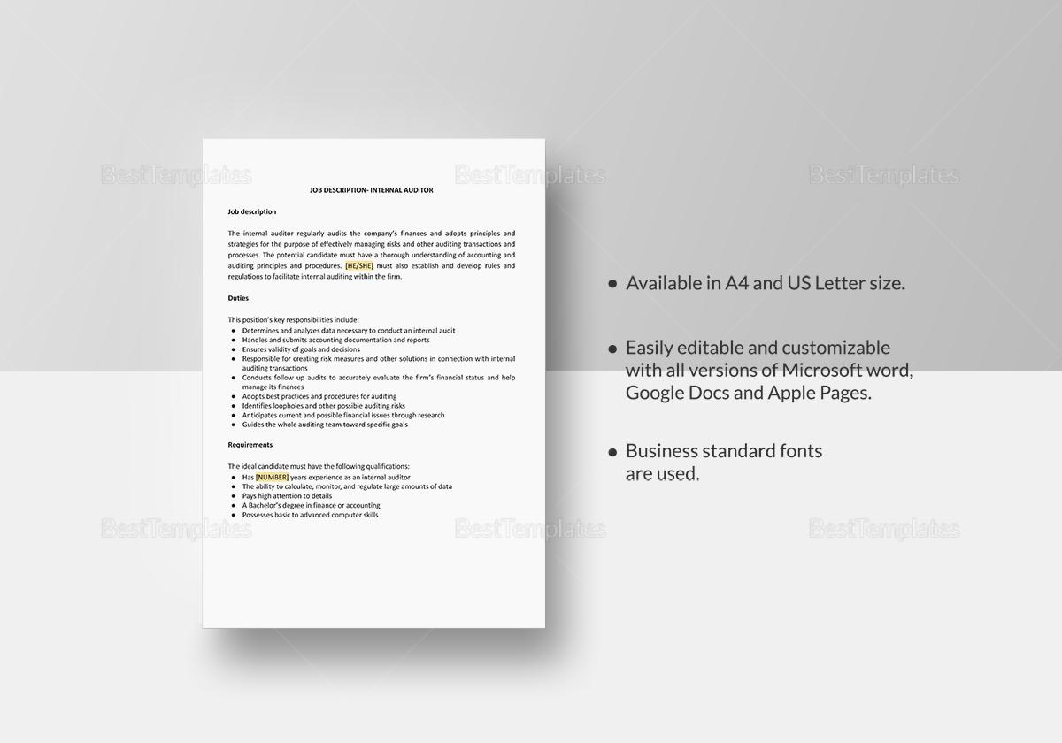 Internal Auditor Job Description Template
