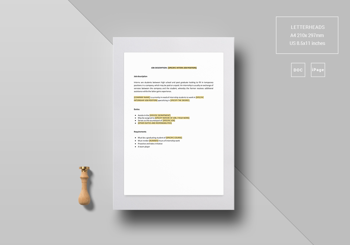 intern job description template in word google docs apple pages